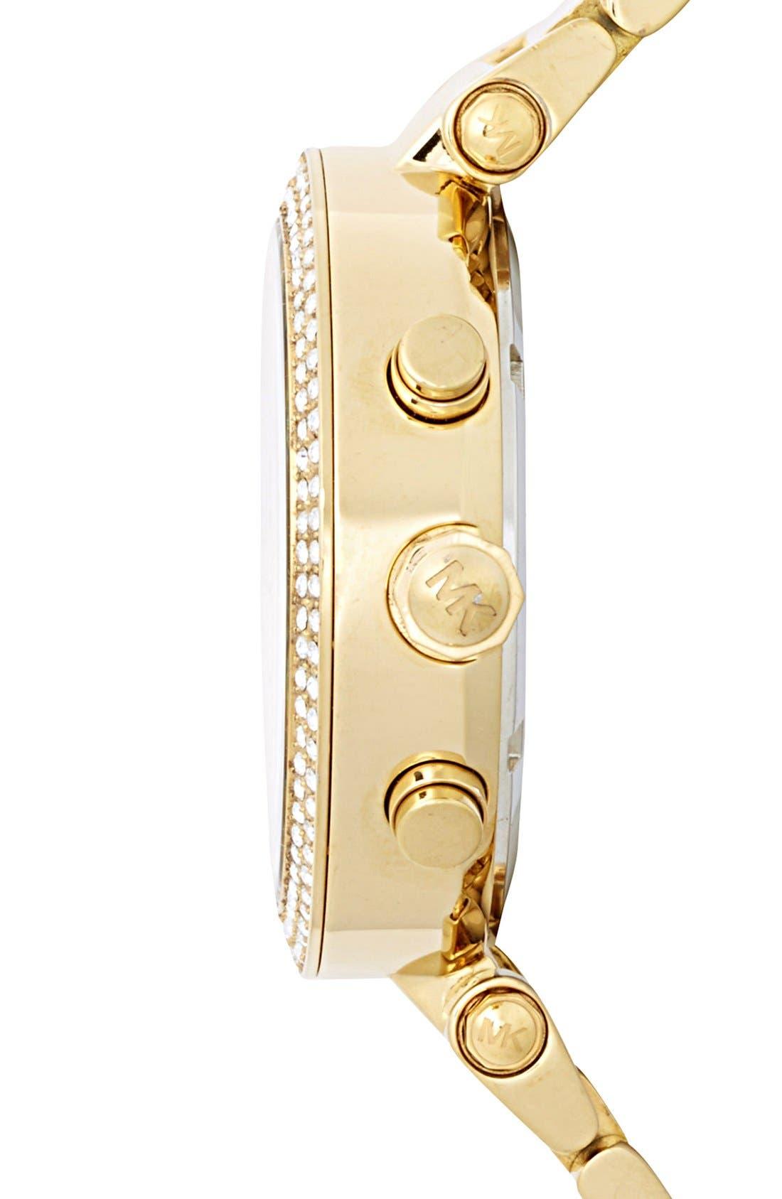 Michael Kors 'Parker' Chronograph Bracelet Watch, 39mm,                             Alternate thumbnail 3, color,                             Gold