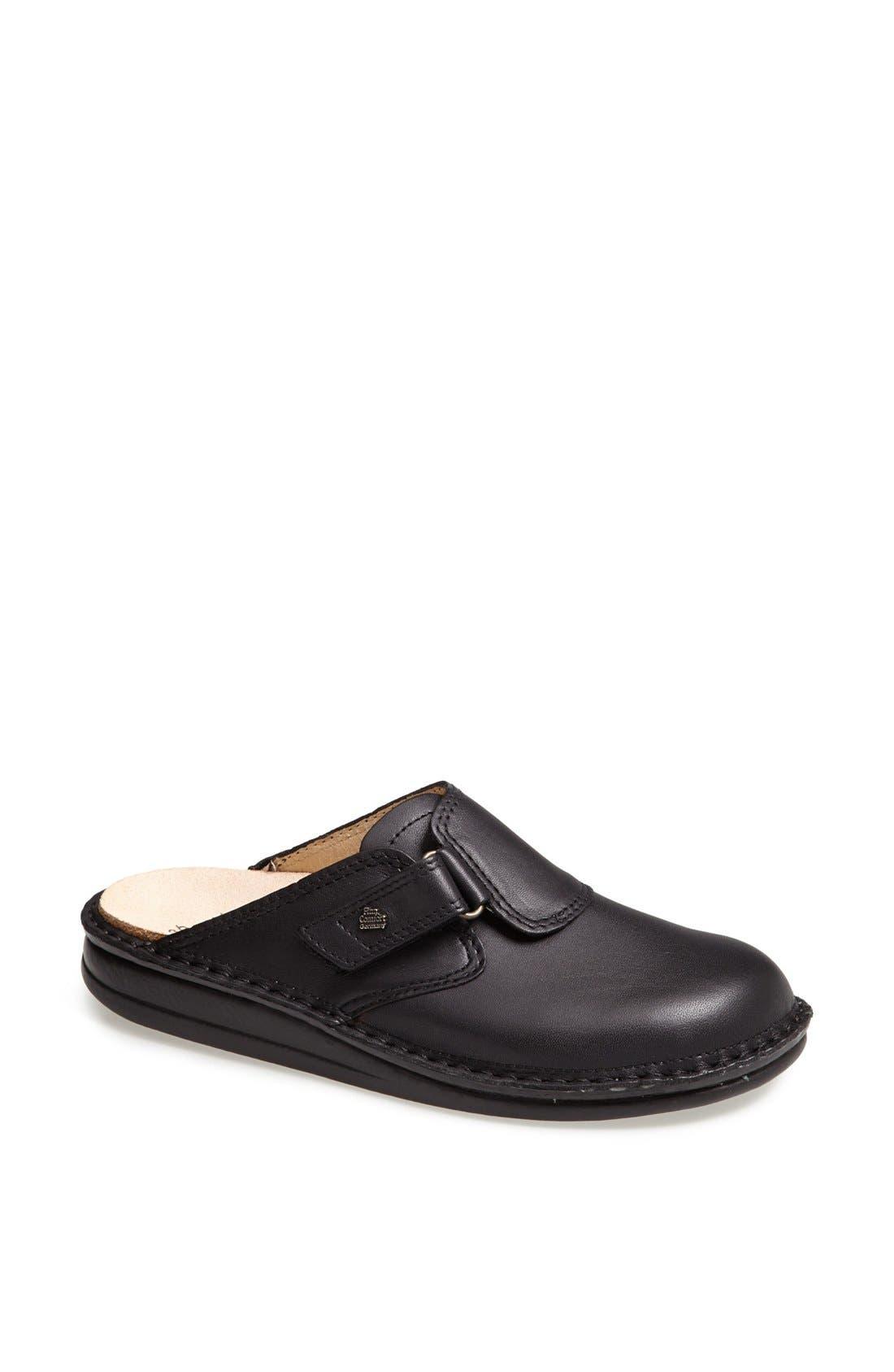 'Venice' Leather Clog,                             Main thumbnail 1, color,                             Black
