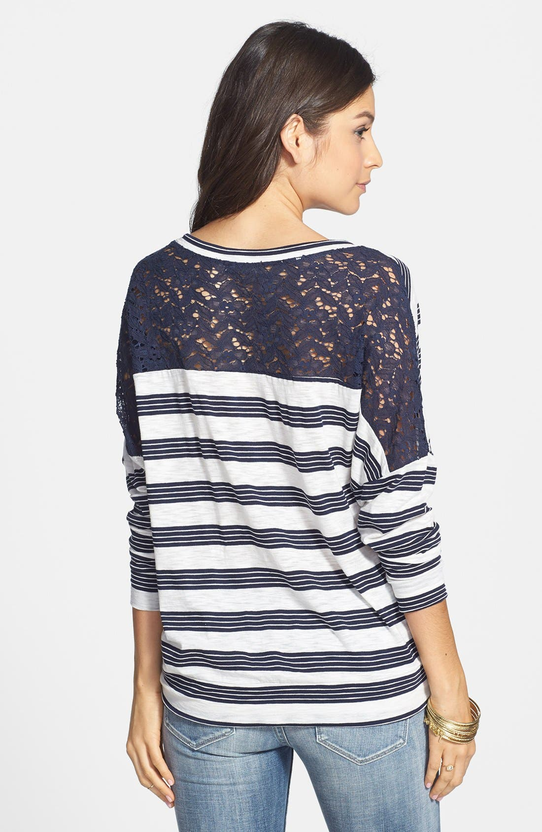 Alternate Image 2  - Elodie Lace Yoke Stripe Oversized Tee (Juniors)