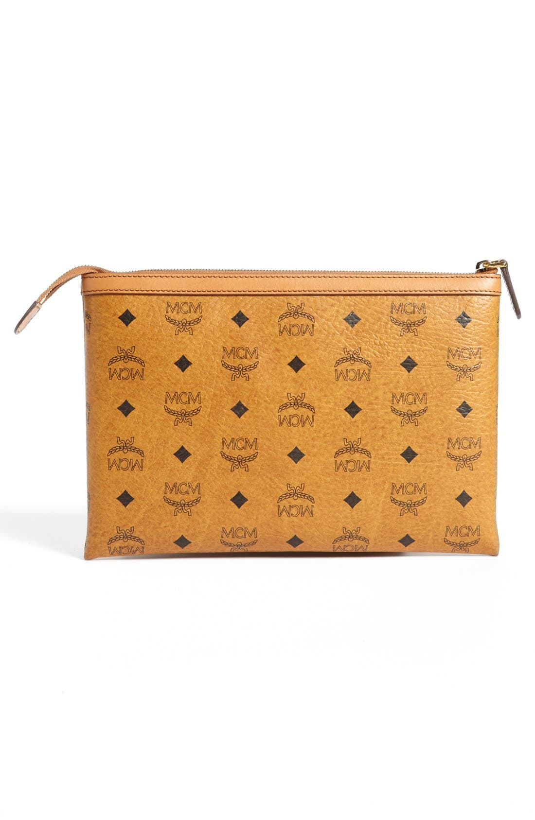 'Medium Heritage' Top Zip Pouch,                             Alternate thumbnail 4, color,                             Cognac