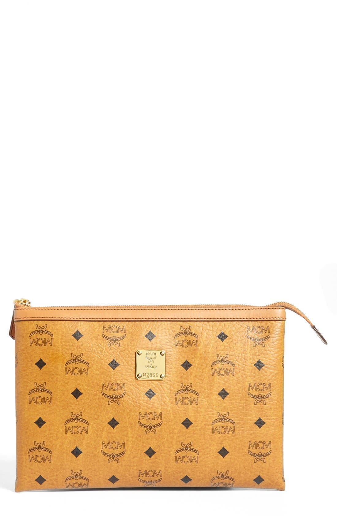 MCM Medium Heritage Top Zip Pouch