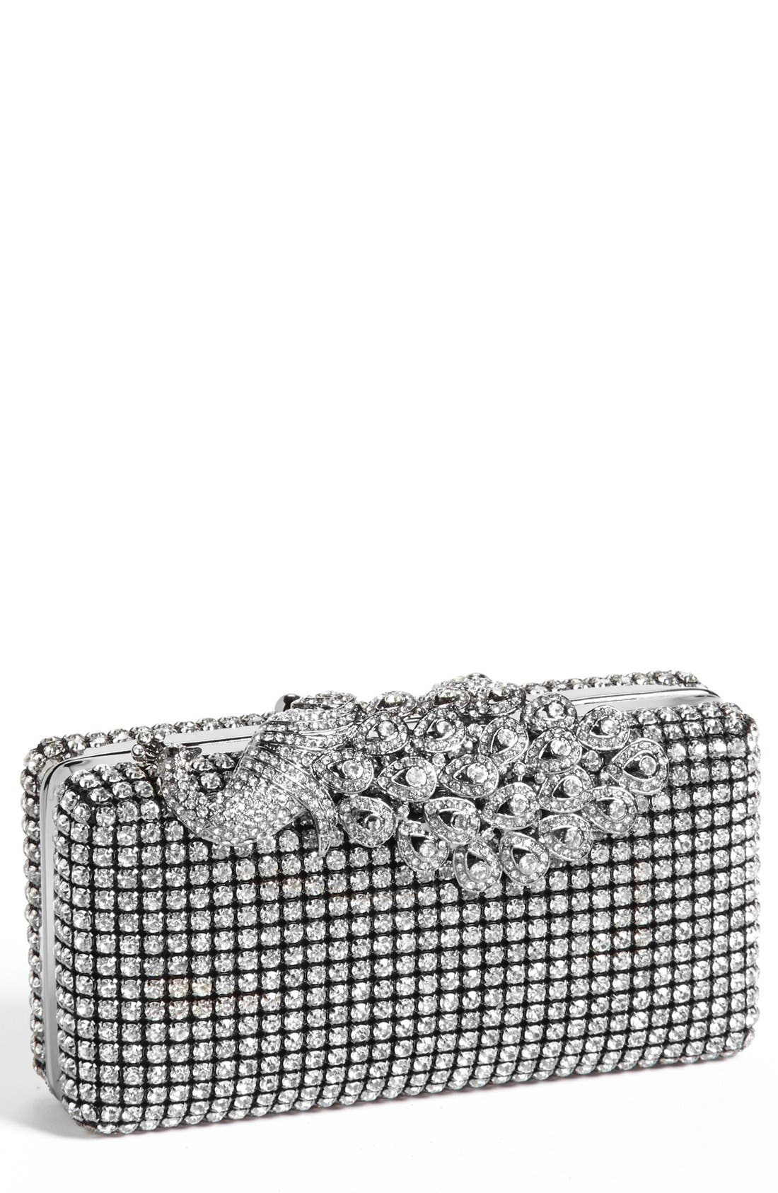 Alternate Image 1 Selected - Natasha Couture Peacock Top Crystal Clutch