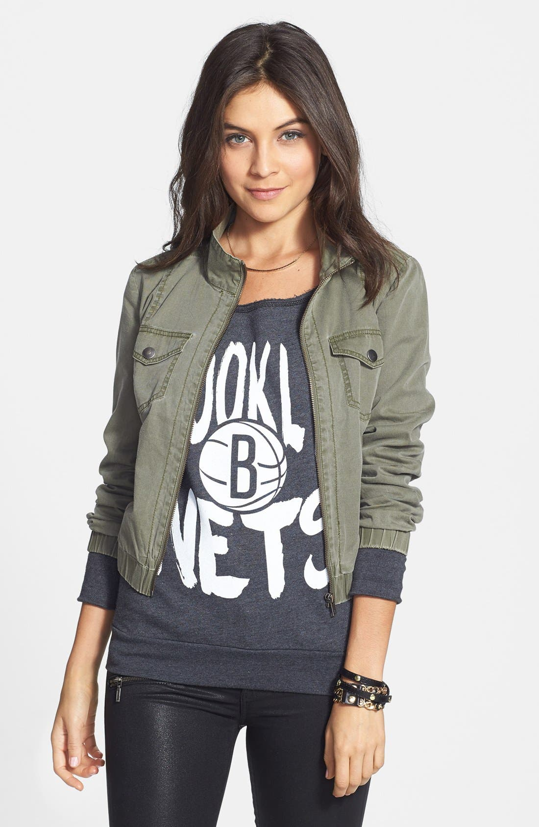 Main Image - Sportiqe 'Brooklyn Nets' Wide Neck Fleece Sweatshirt (Juniors) (Online Only)