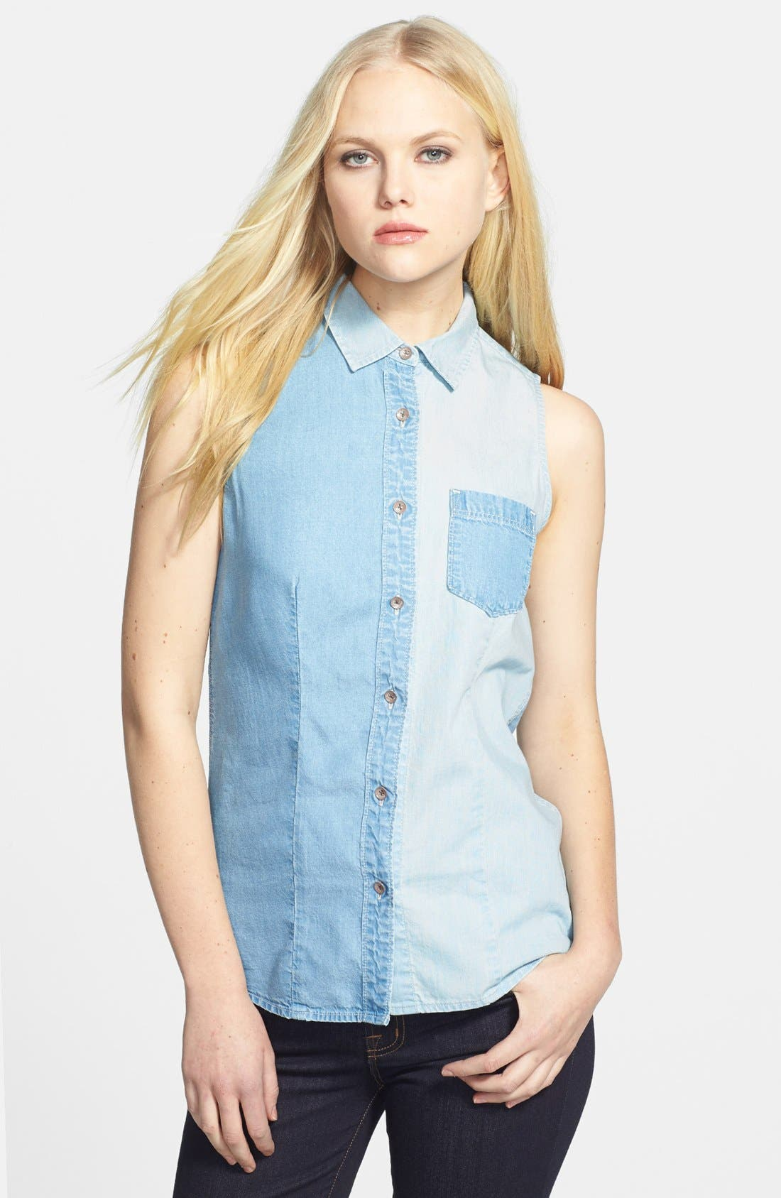 Main Image - Two by Vince Camuto 'Bleached Boy' Sleeveless Denim Shirt