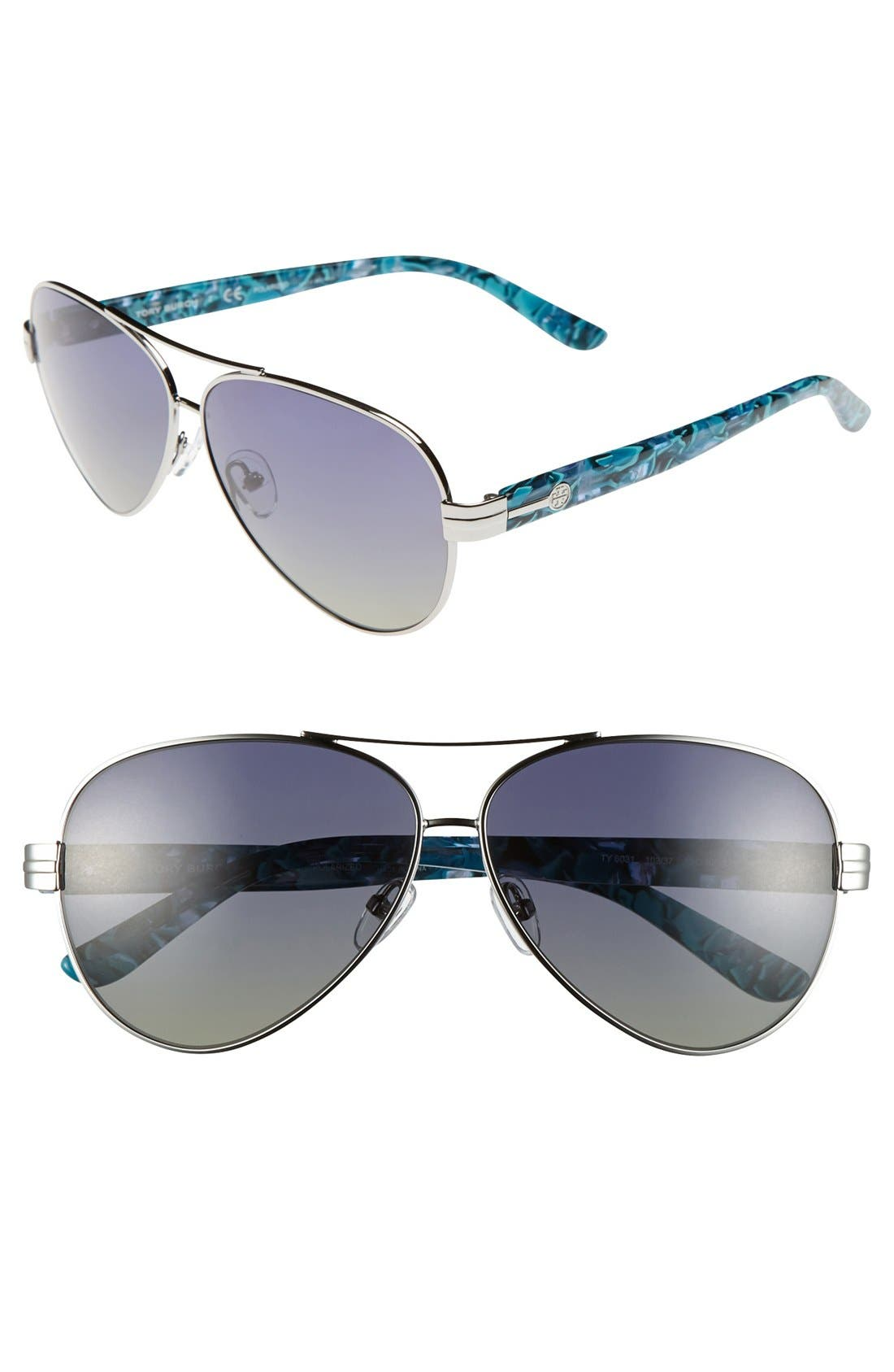 Main Image - Tory Burch 59mm Polarized Aviator Sunglasses (Online Only)