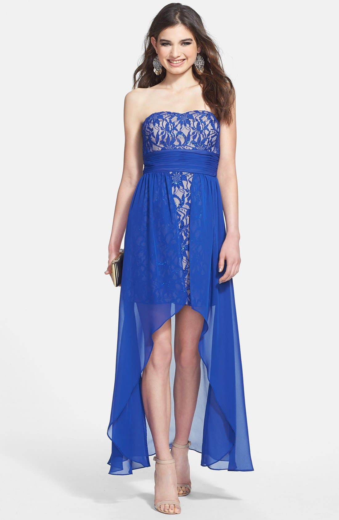 Alternate Image 1 Selected - Hailey Logan High/Low Overlay Lace Dress (Juniors) (Online Only)