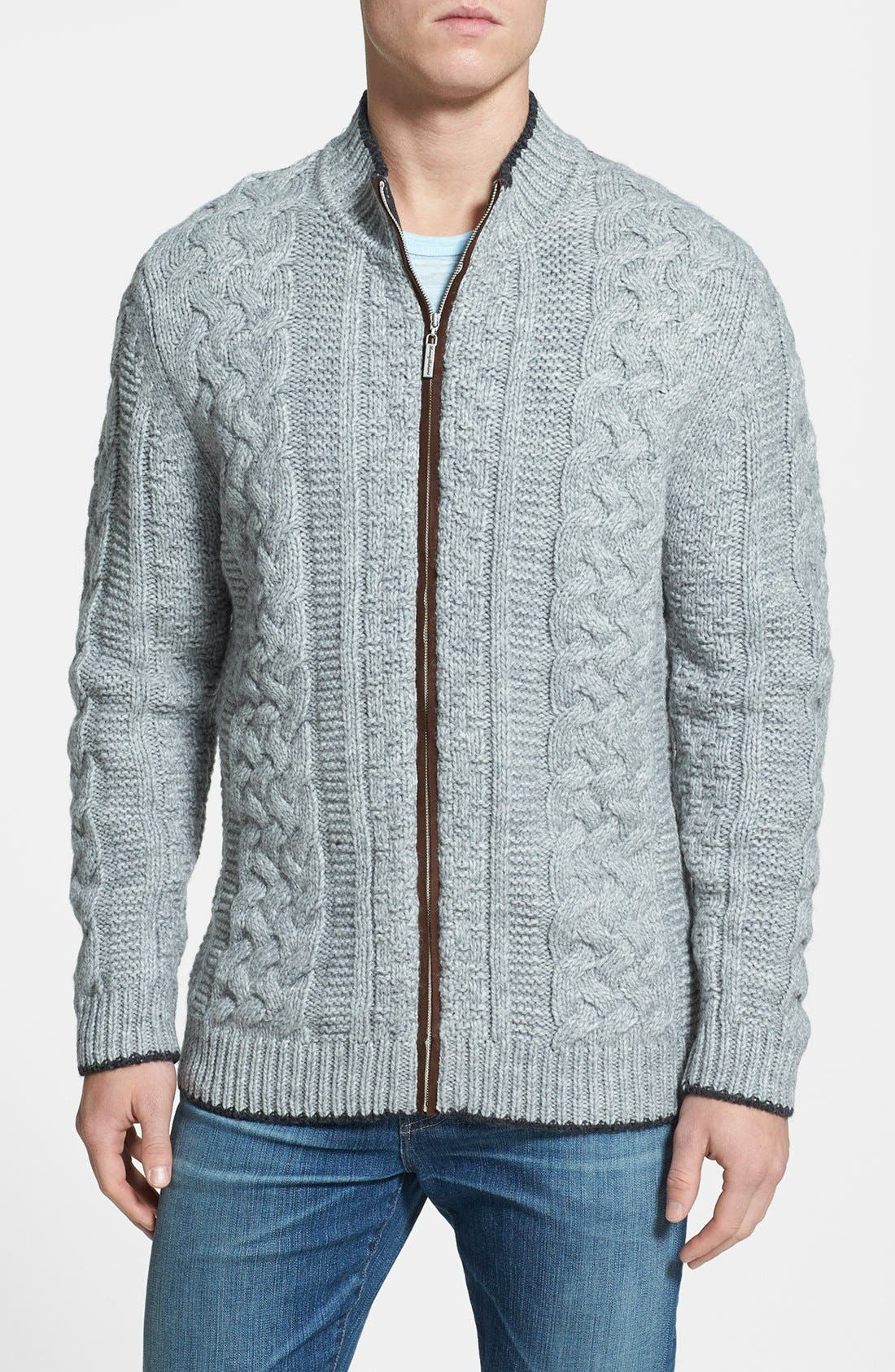 Main Image - Tommy Bahama 'Upstate' Cable Knit Wool Blend Cardigan