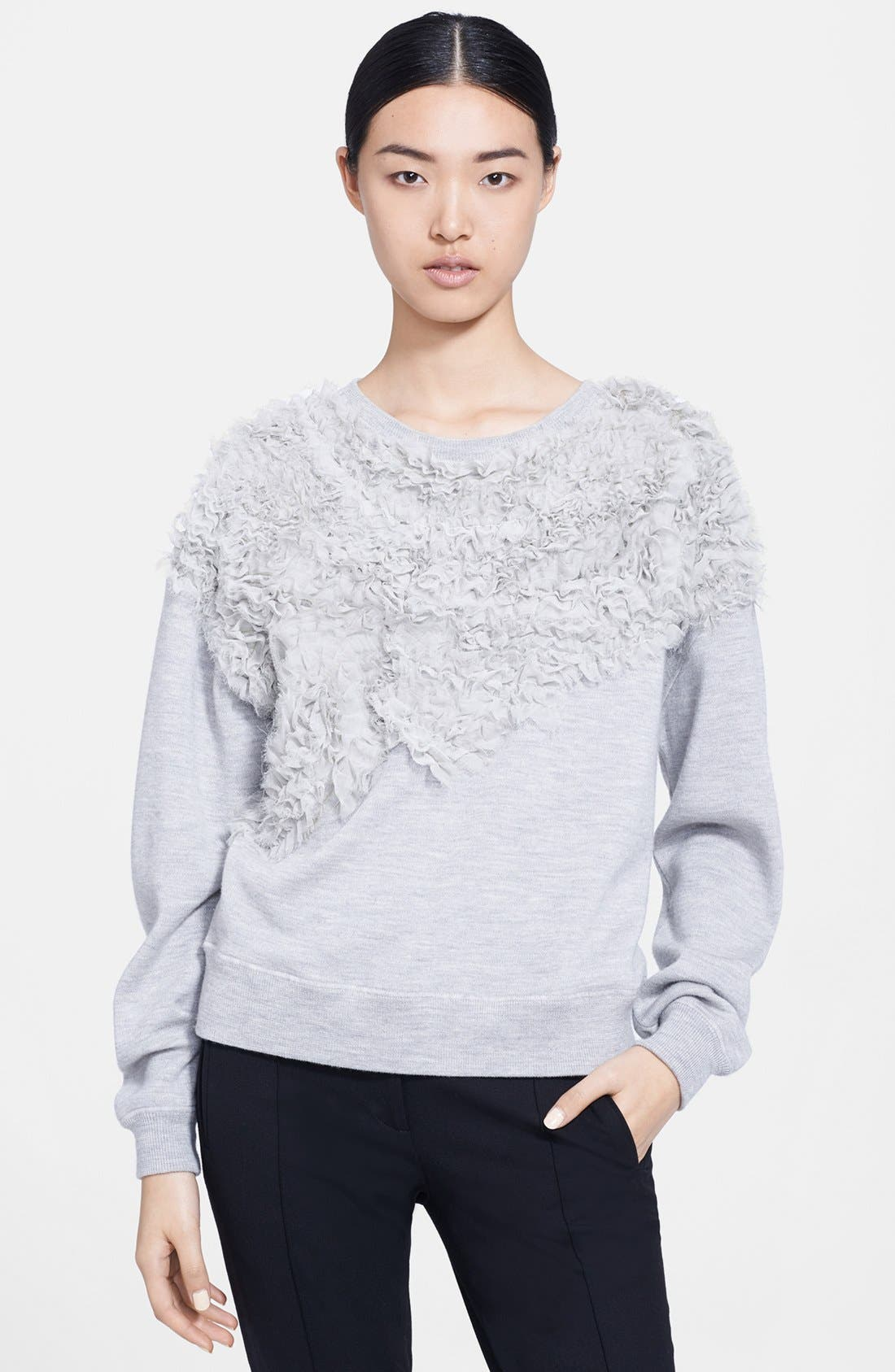 Alternate Image 1 Selected - Jason Wu Chiffon Appliqué Sweatshirt