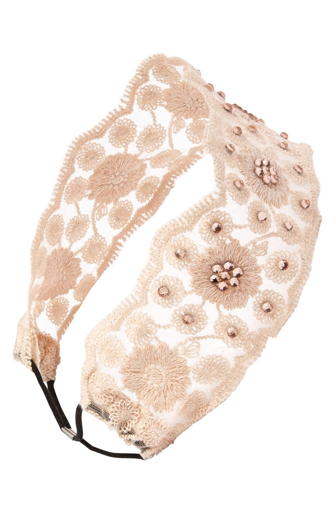 Alternate Image 1 Selected - Lulu Lace & Crystal Headband (Juniors) (Online Only)