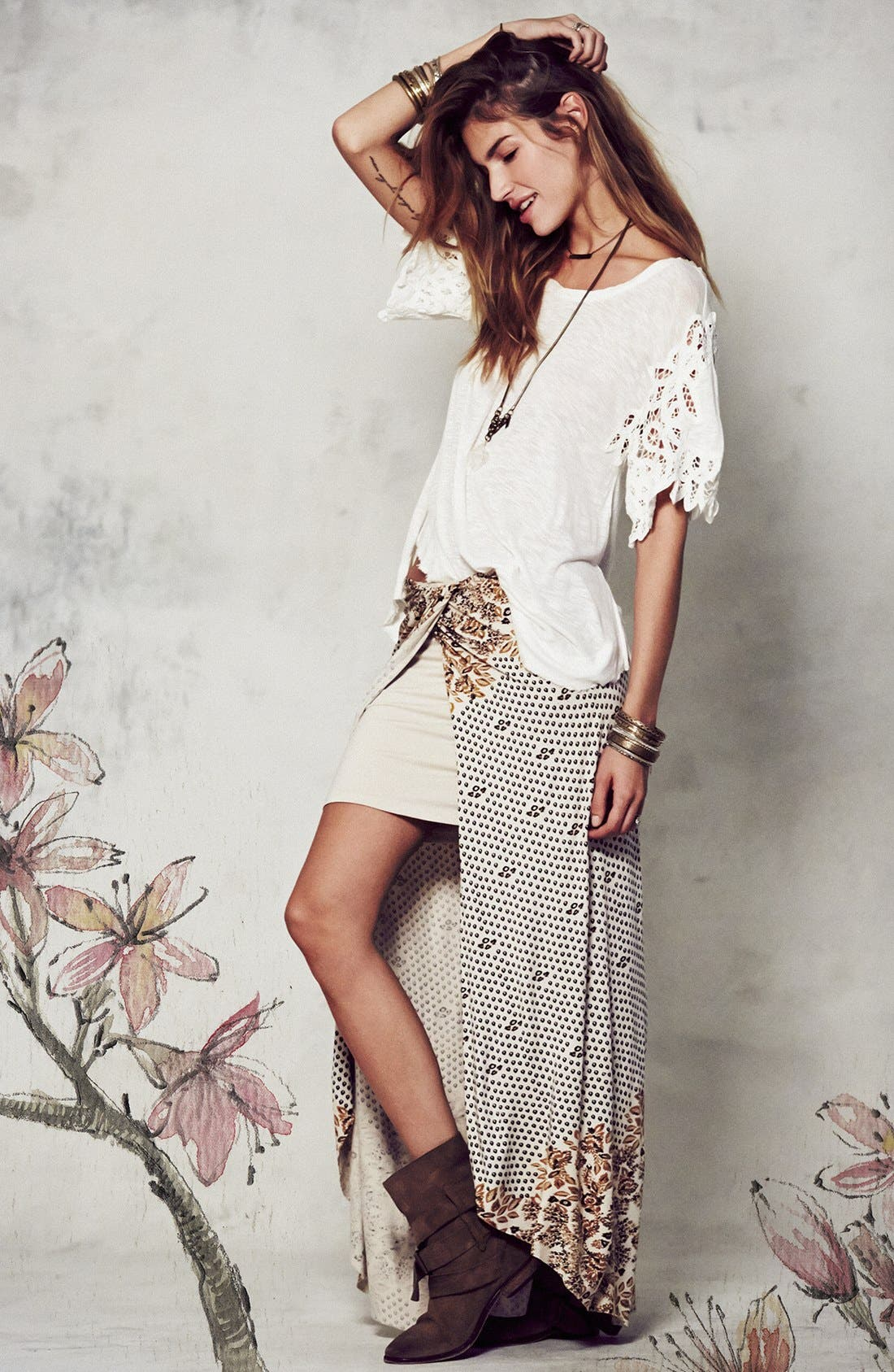 Alternate Image 4  - Free People Print Draped Knit Column Skirt
