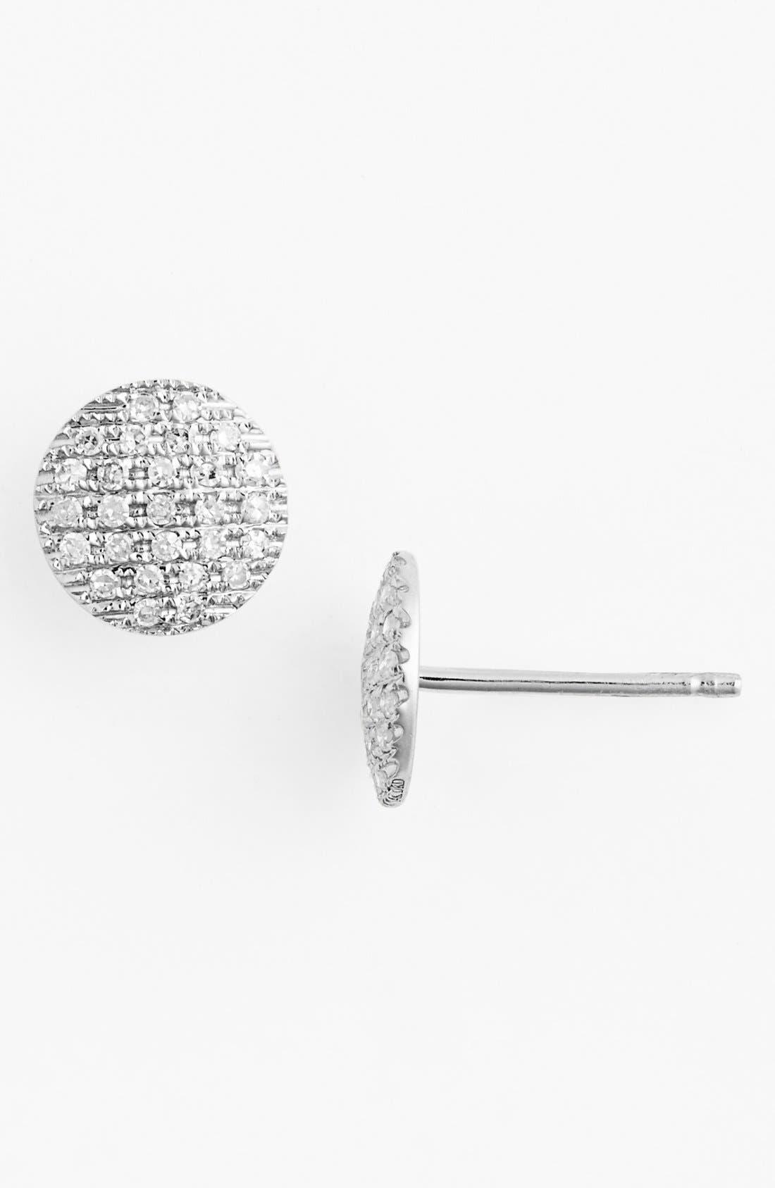 'Lauren Joy' Diamond Disc Stud Earrings,                             Main thumbnail 1, color,                             White Gold