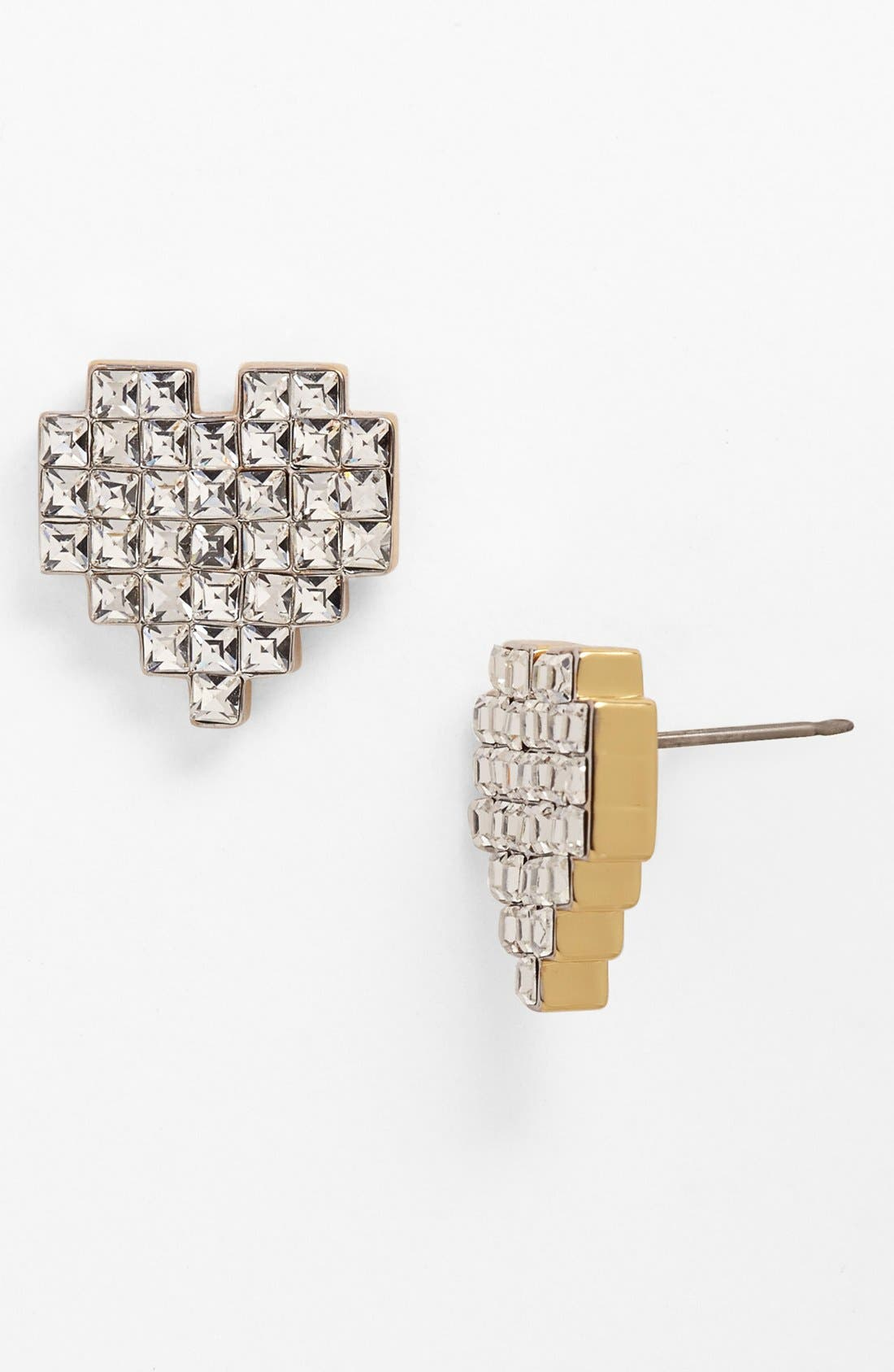 Main Image - Juicy Couture 'Heart of Gold' Pixel Heart Stud Earrings