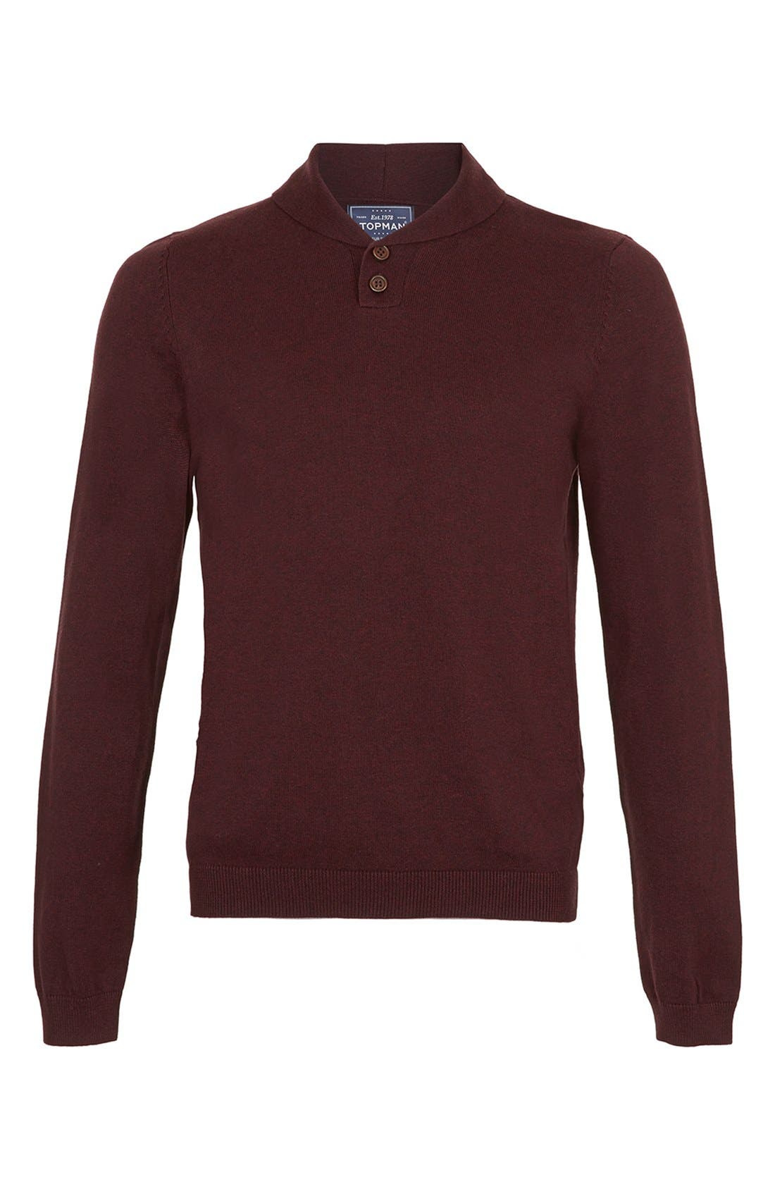 Alternate Image 1 Selected - Topman Shawl Collar Sweater