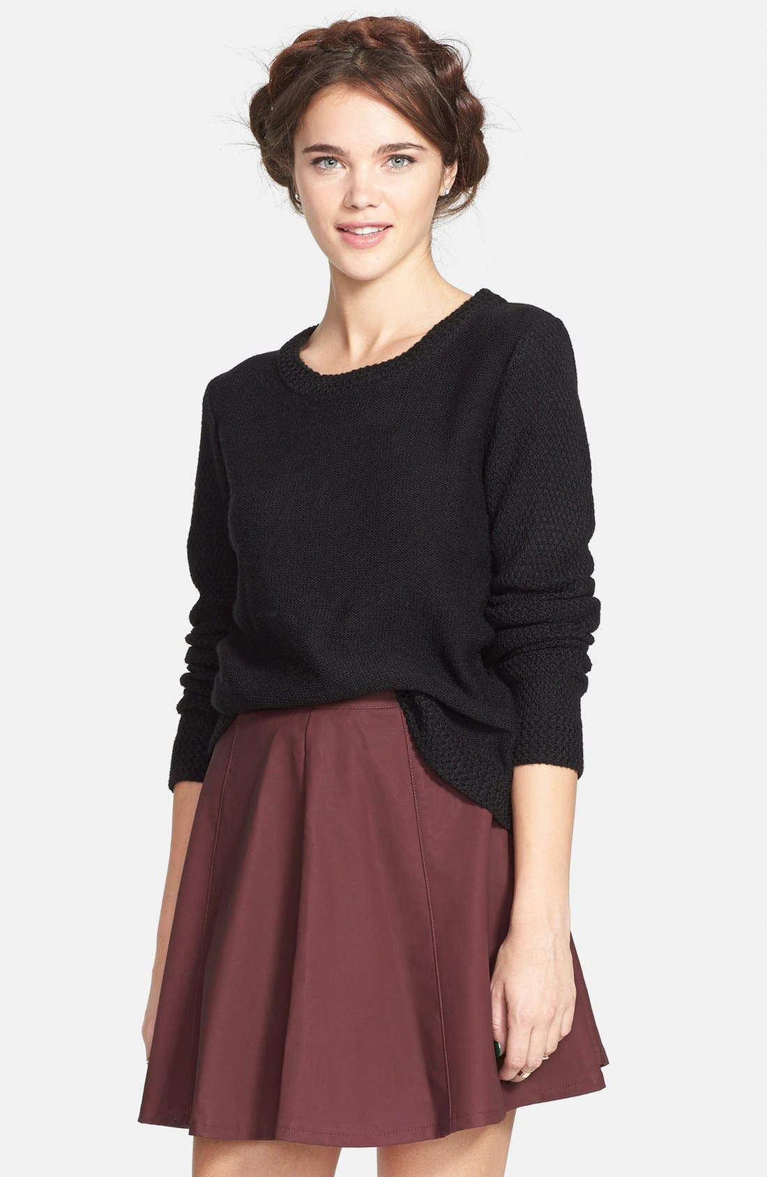 Alternate Image 1 Selected - Lily White Faux Leather Skater Skirt (Juniors)