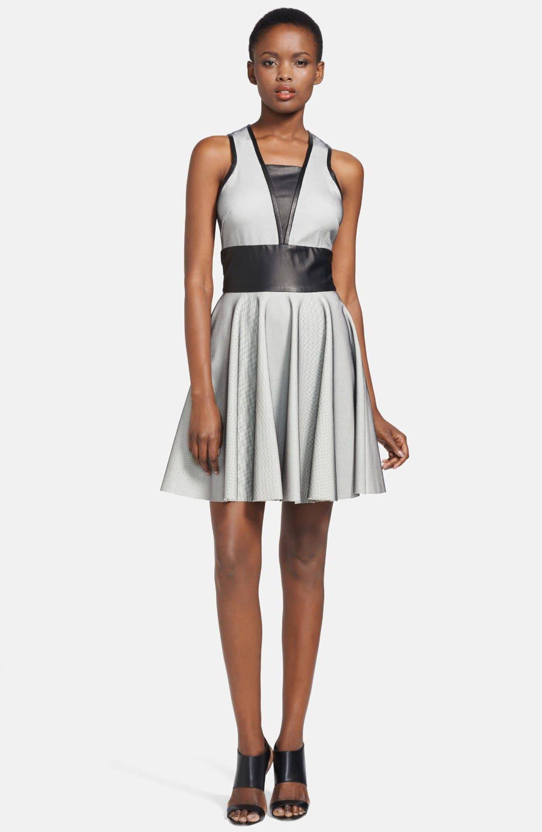 Main Image - Robert Rodriguez Bonded Leather & Mesh Dress