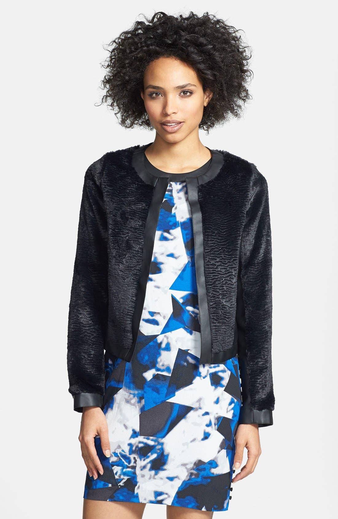Main Image - kensie Faux Fur & Faux Leather Collarless Jacket