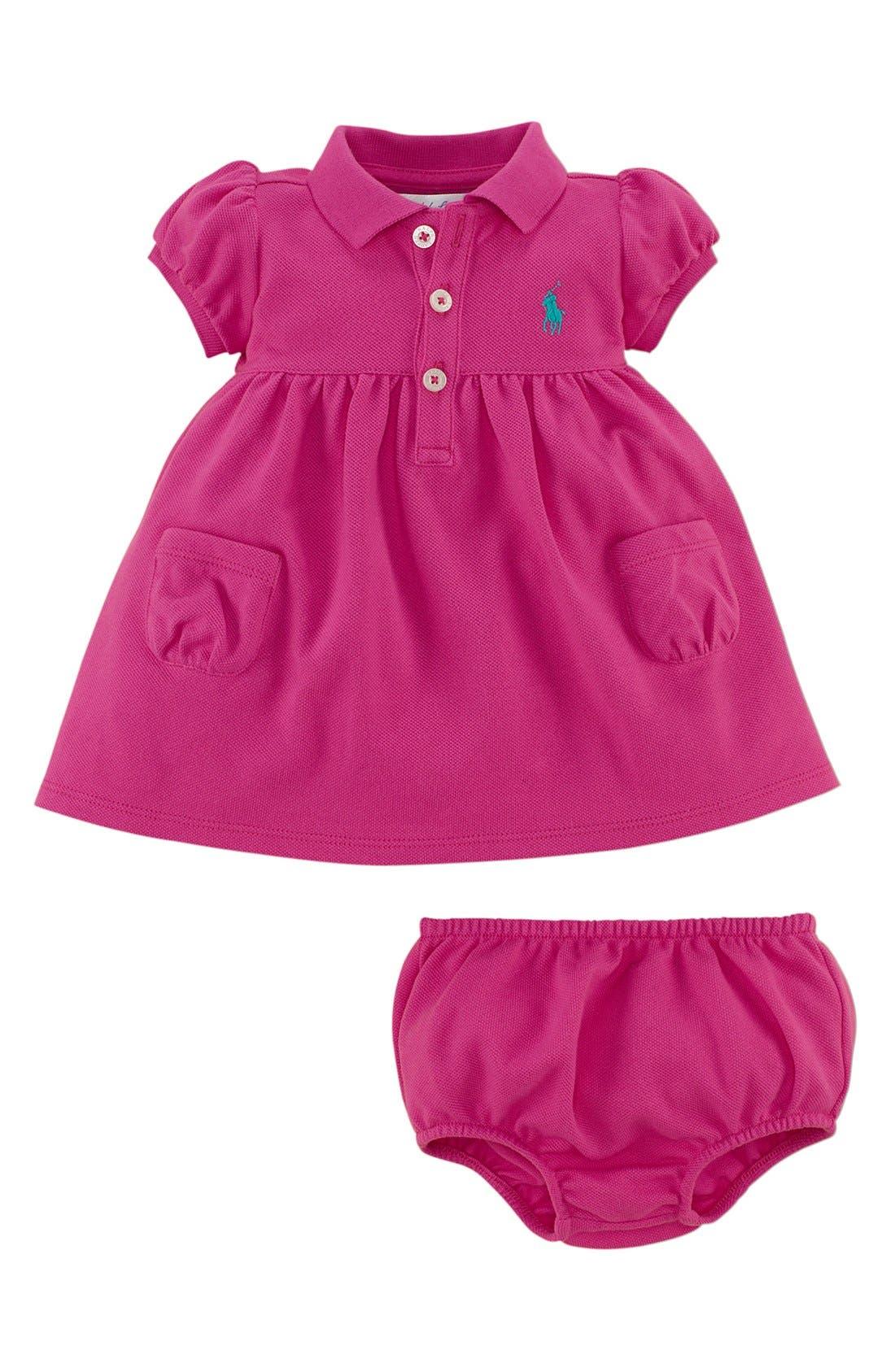 Alternate Image 2  - Ralph Lauren Cotton Polo Dress & Bloomers (Baby Girls)