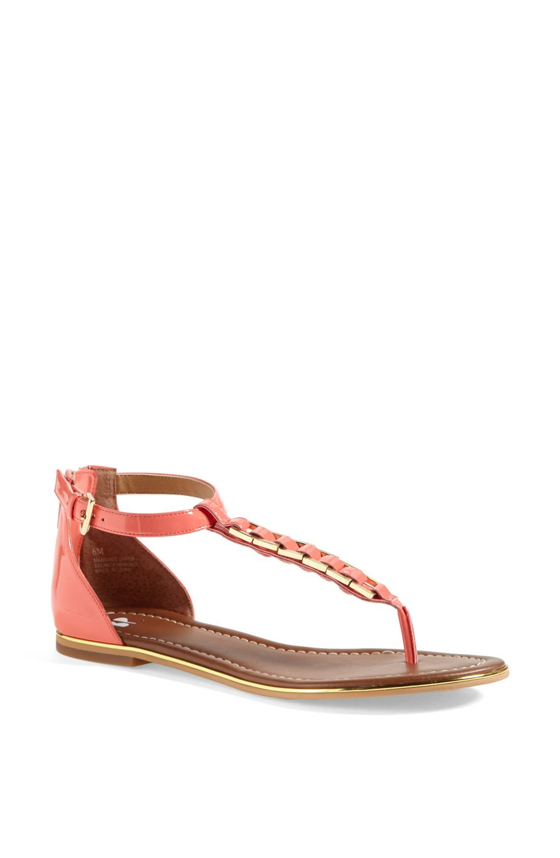 'Bonsai' Sandal,                             Main thumbnail 1, color,                             Coral Patent