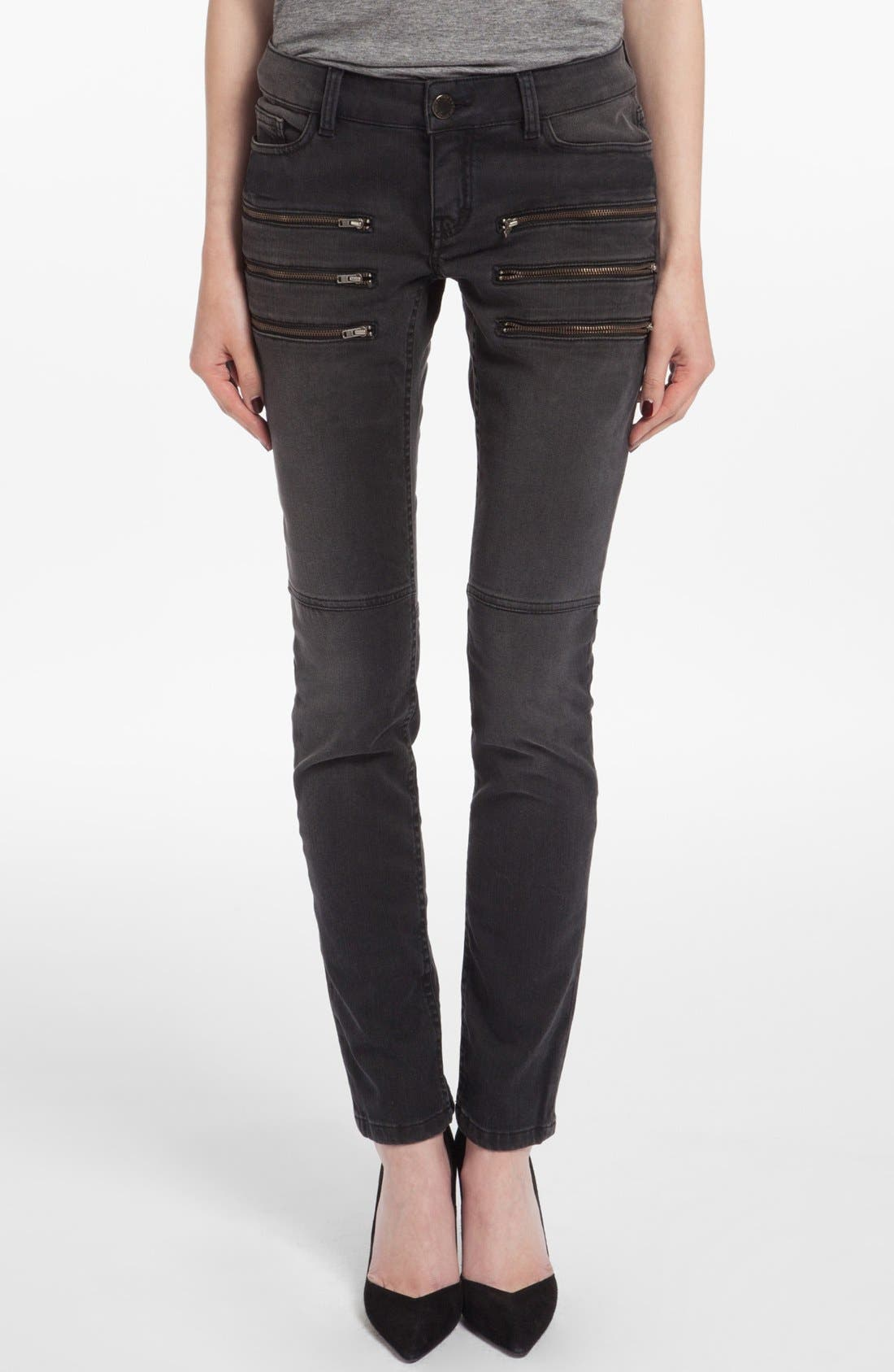 Alternate Image 1 Selected - maje 'Dip' Colored Skinny Jeans (Noir)
