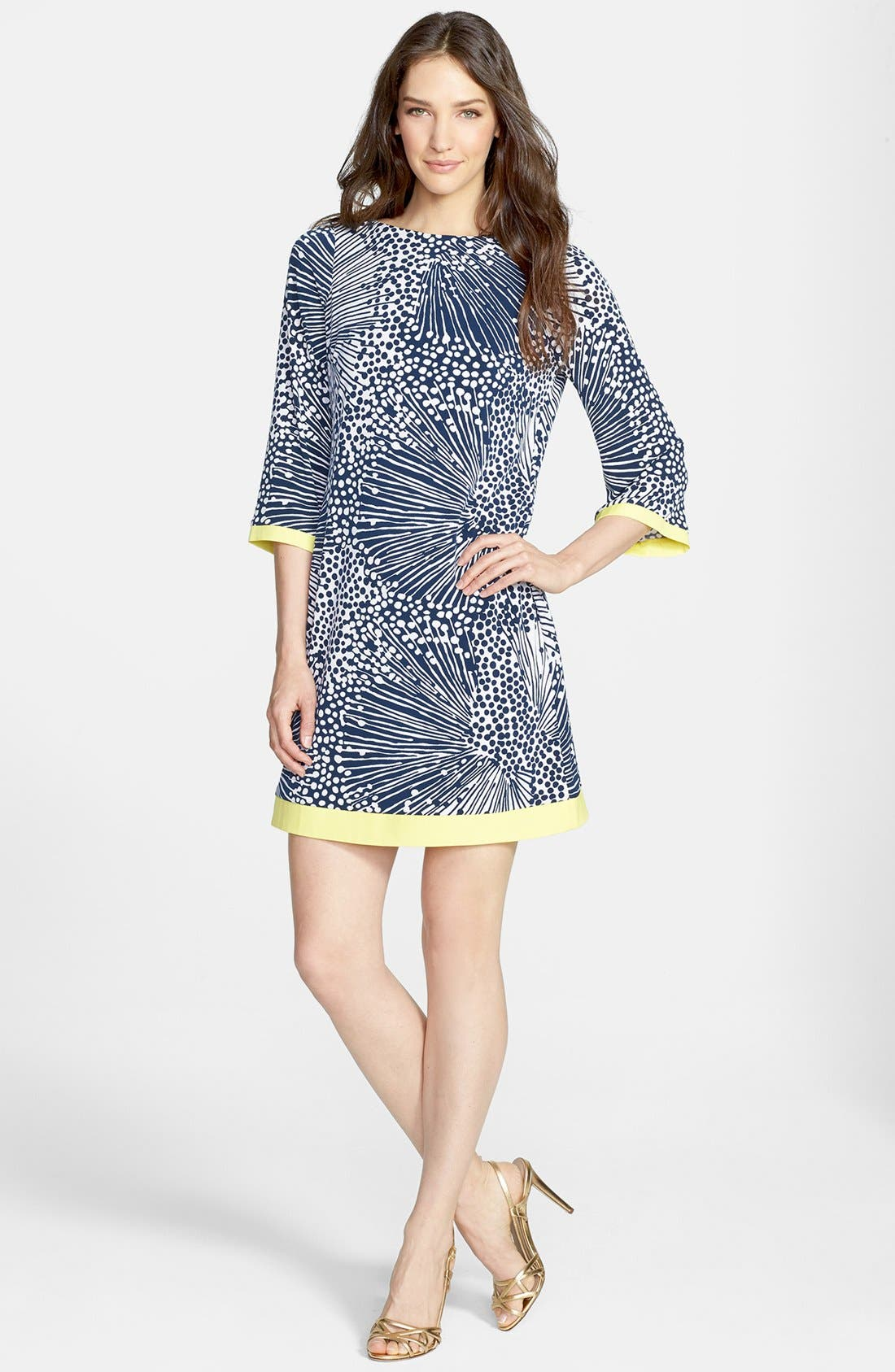 Alternate Image 2  - Eliza J Print Jersey Shift Dress (Regular & Petite)