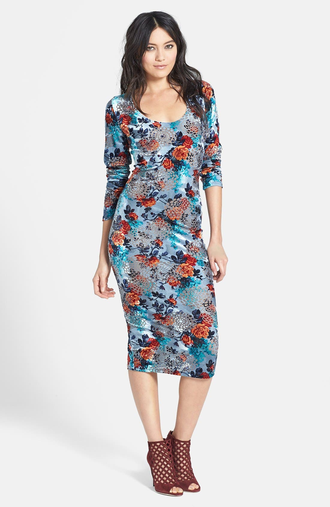 Main Image - Glamorous Floral Velvet Midi Dress