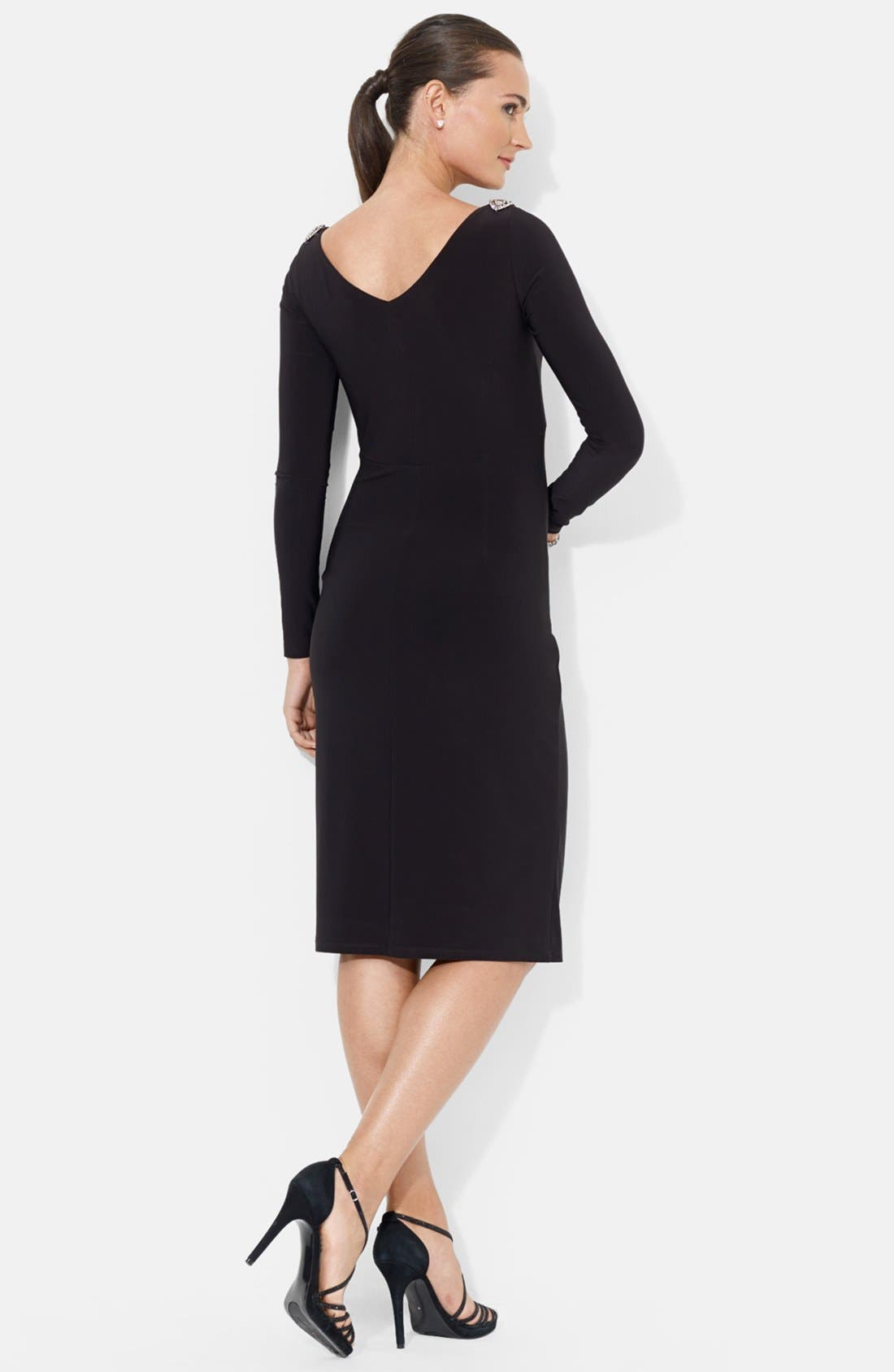 Alternate Image 2  - Lauren Ralph Lauren Embellished Shoulder Jersey Dress (Petite)