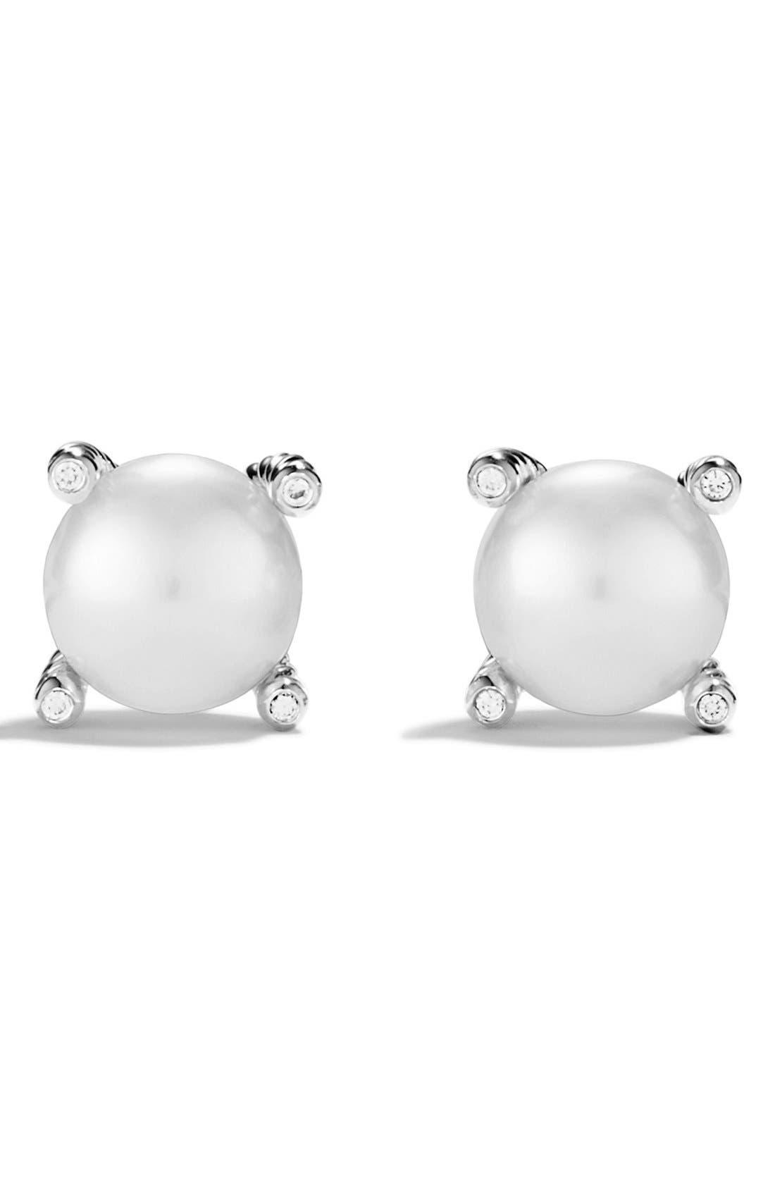 Pearl & Diamond Stud Earrings,                             Alternate thumbnail 2, color,                             Silver Pearl