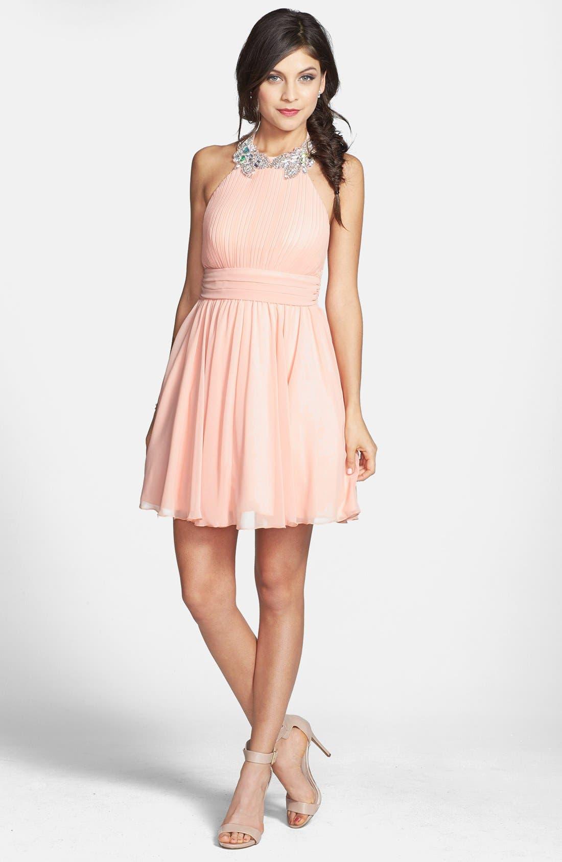 Alternate Image 1 Selected - Way-In Embellished Neck Chiffon Halter Dress (Juniors) (Online Only)