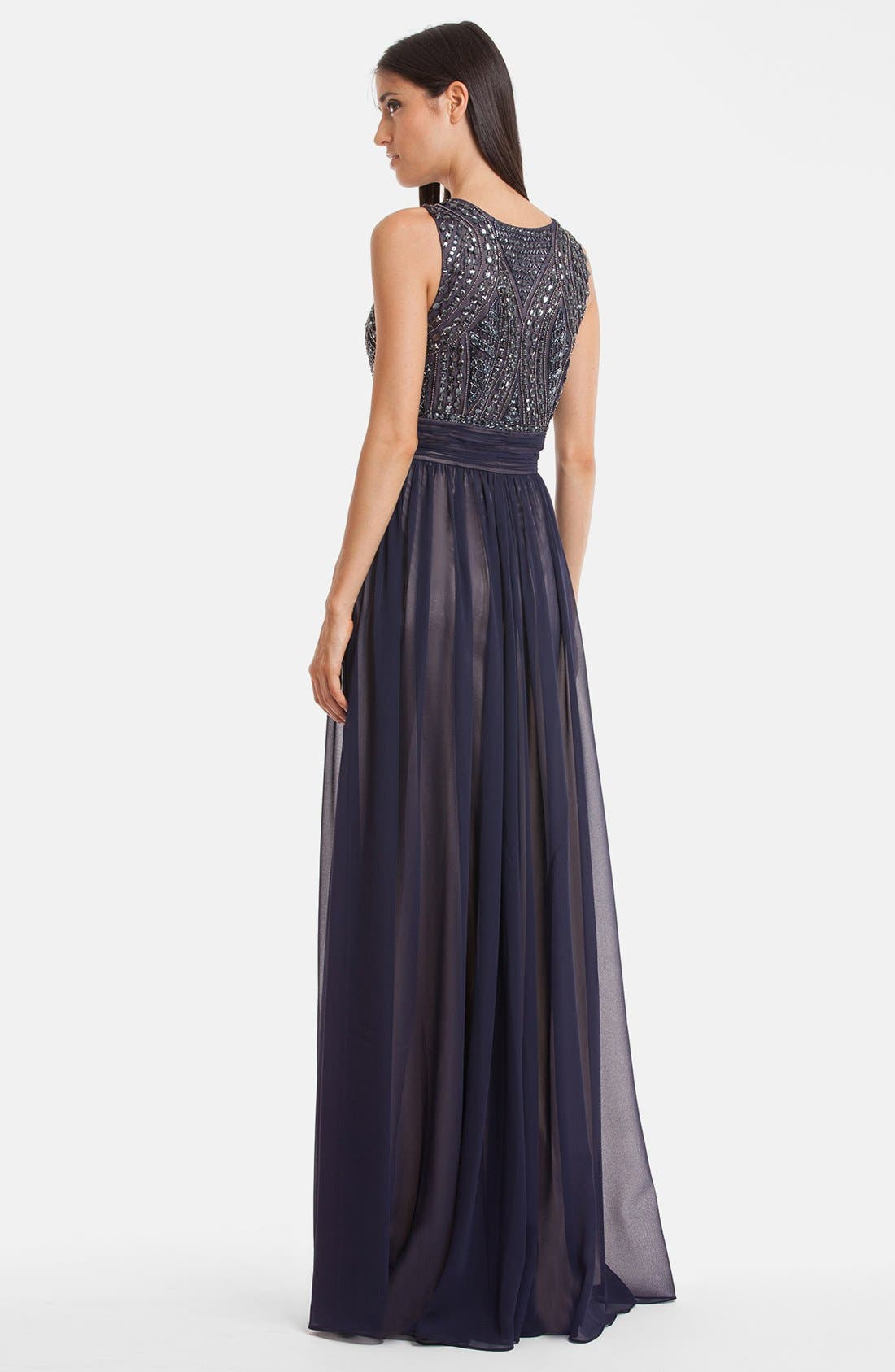 Alternate Image 2  - JS Collections Beaded Bodice Chiffon Gown