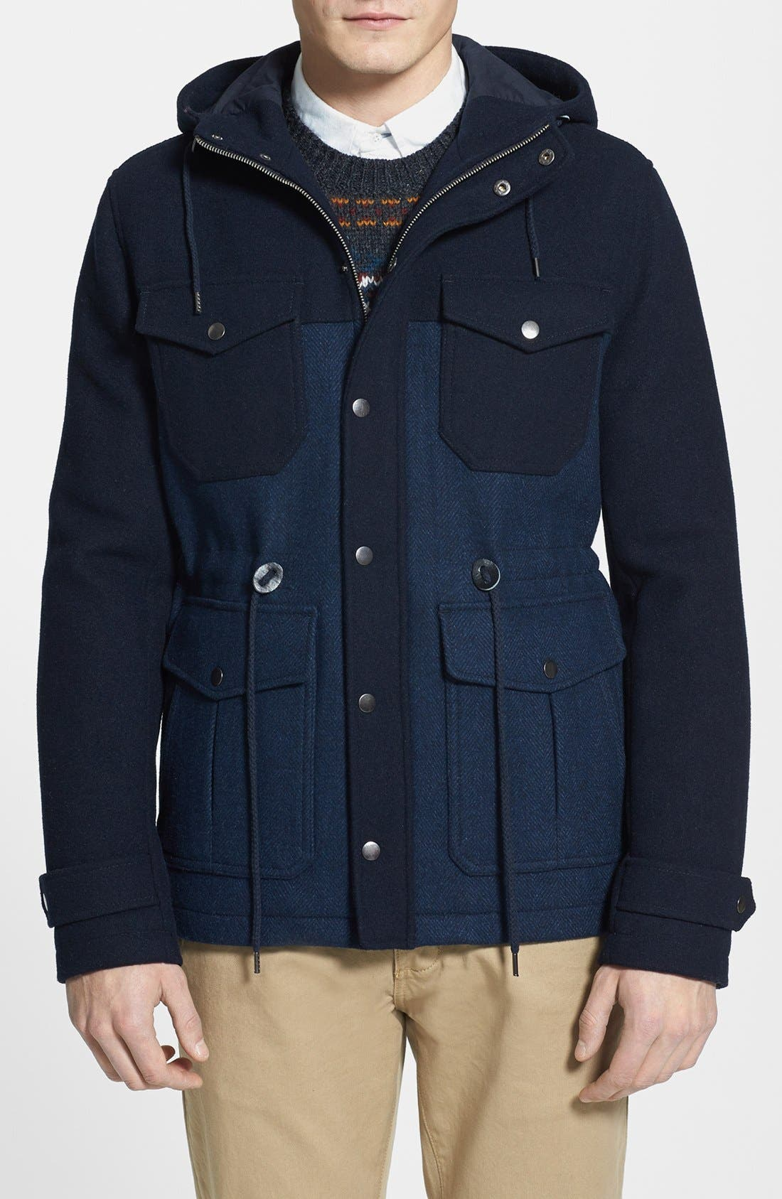 Alternate Image 1 Selected - Topman Two-Tone Wool Blend Field Jacket