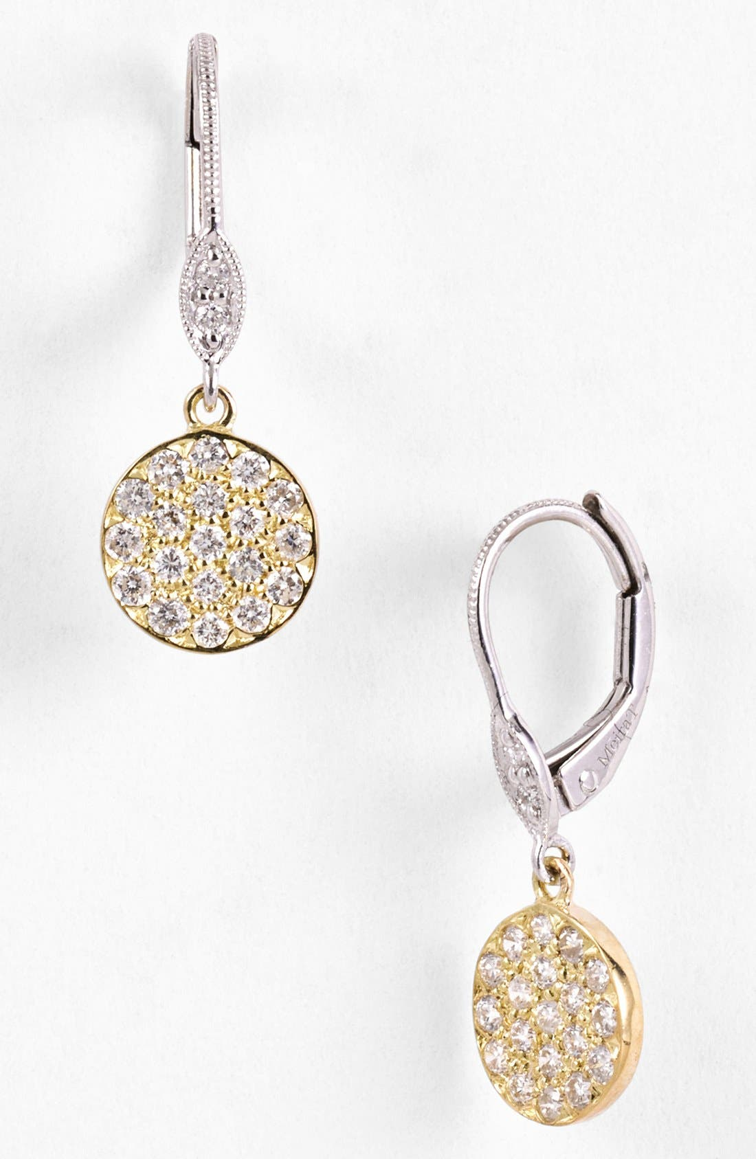 MeiraT 'Dazzling' Diamond Disc Drop Earrings,                             Main thumbnail 1, color,                             Yellow Gold