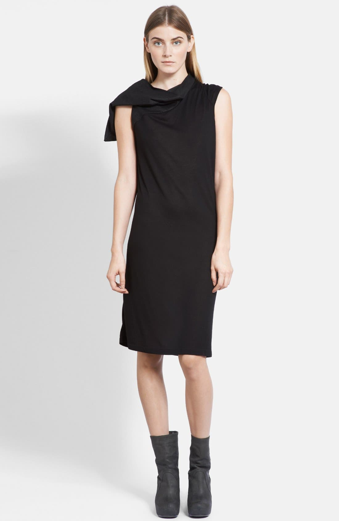 Main Image - Rick Owens Suede Hood Jersey Tunic Dress