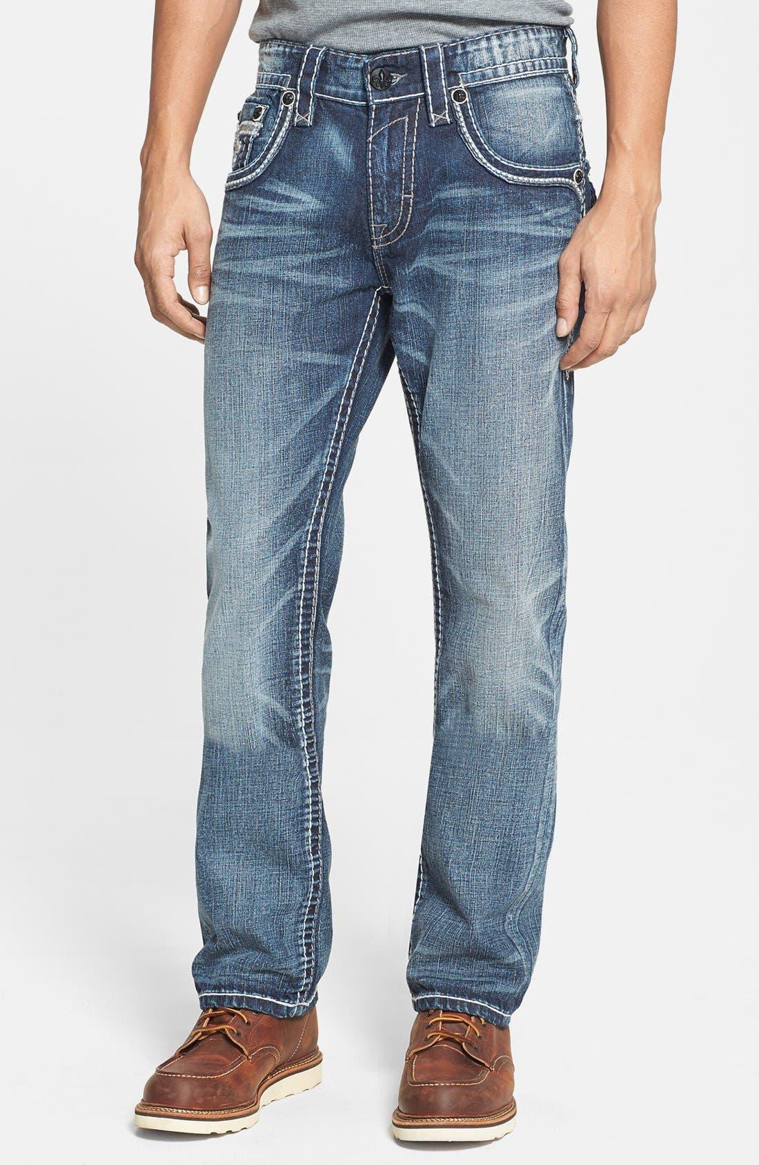 Alternate Image 2  - Rock Revival 'Humfrey' Straight Leg Jeans (Medium Blue)