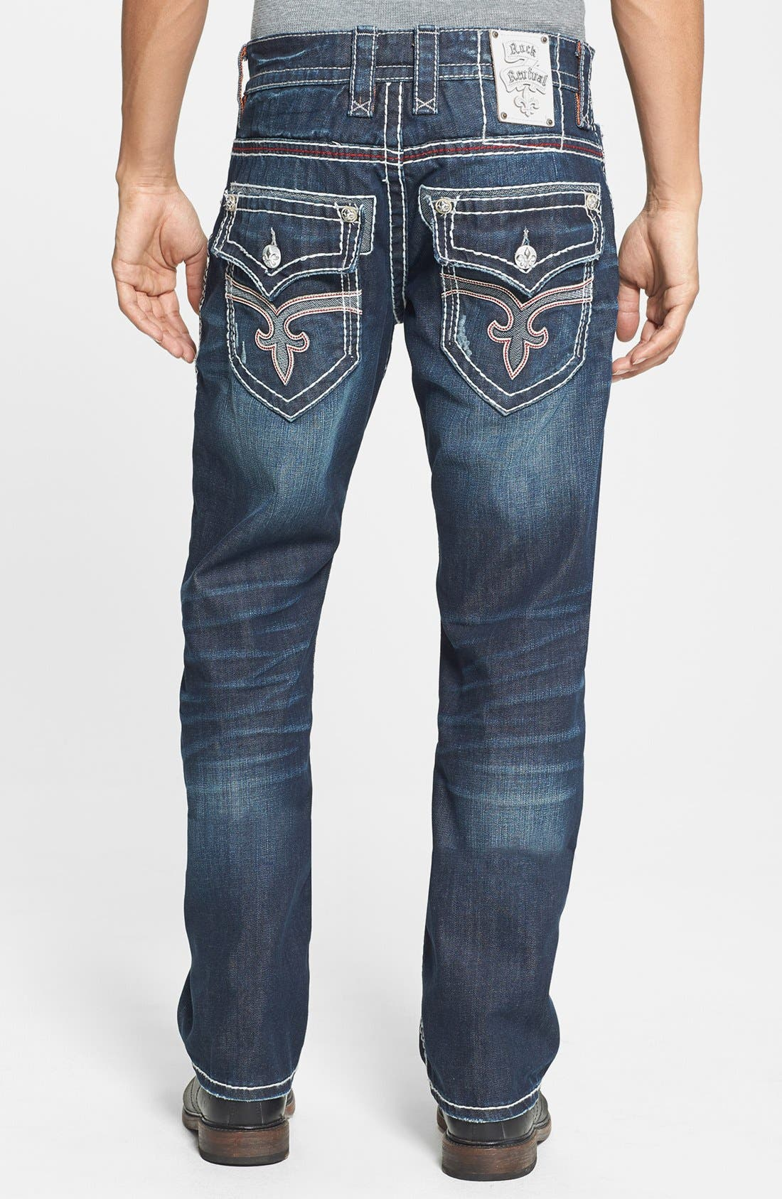 Alternate Image 1 Selected - Rock Revival 'Grayson' Straight Leg Jeans (Dark Blue)