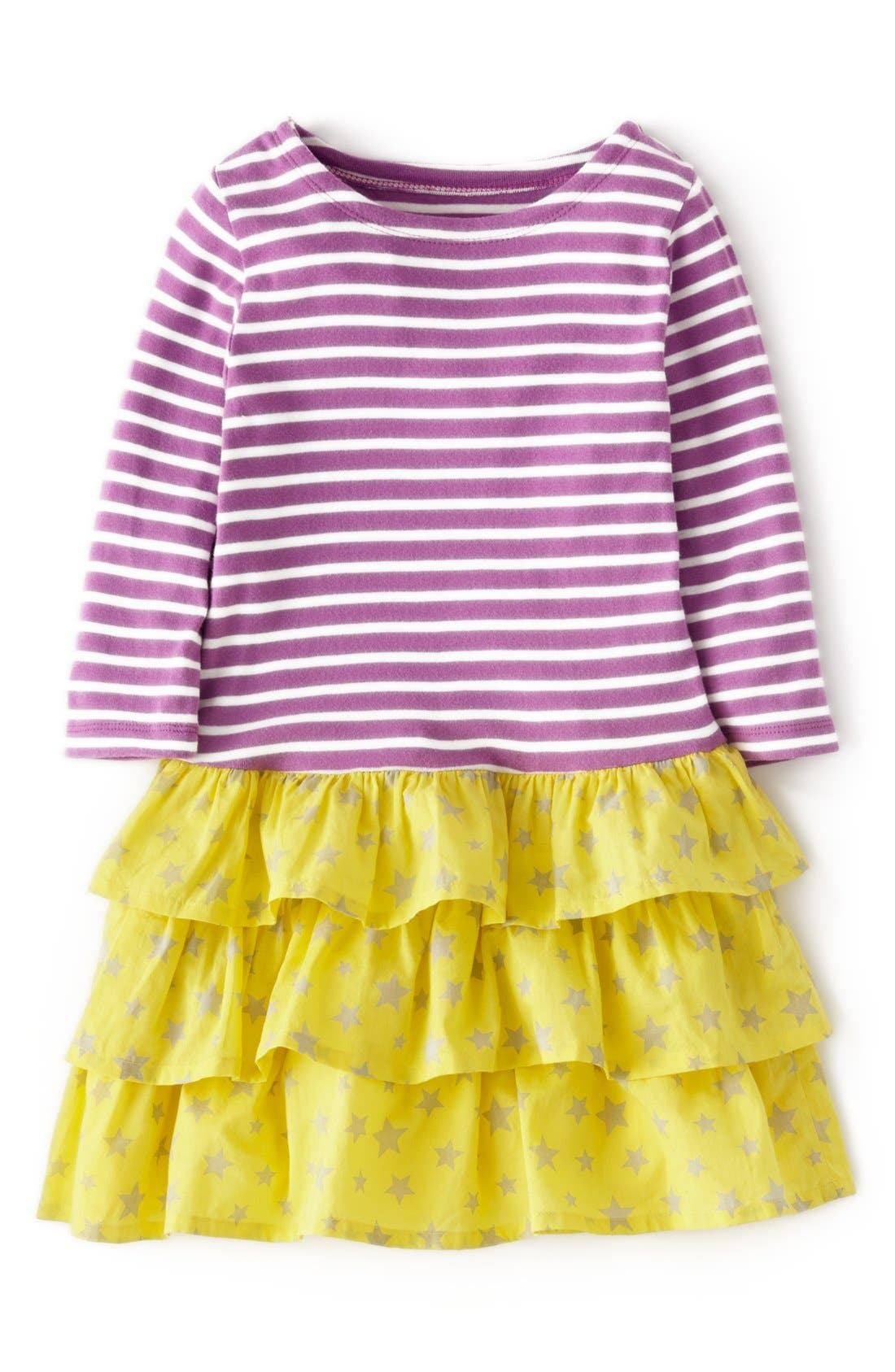 Main Image - Mini Boden Stripy Ruffle Dress (Toddler Girls, Little Girls & Big Girls)(Online Only)