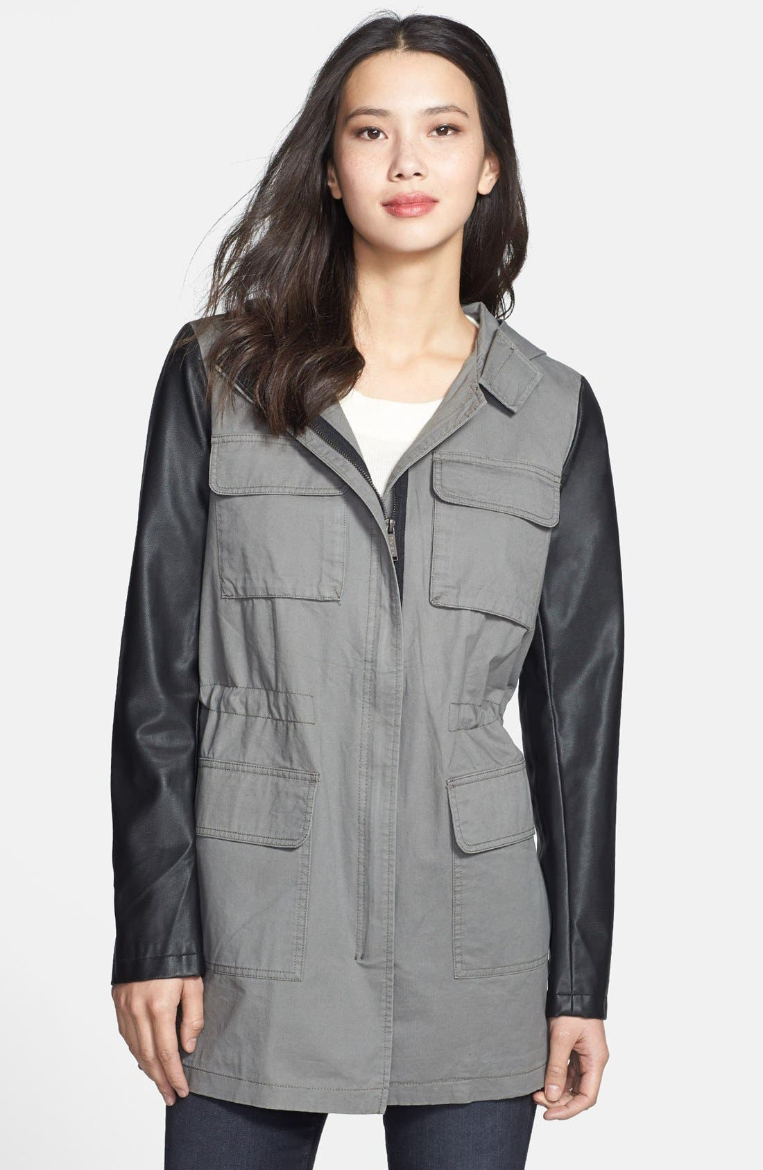 Main Image - DKNY 'Cassidy' Faux Leather Sleeve Anorak