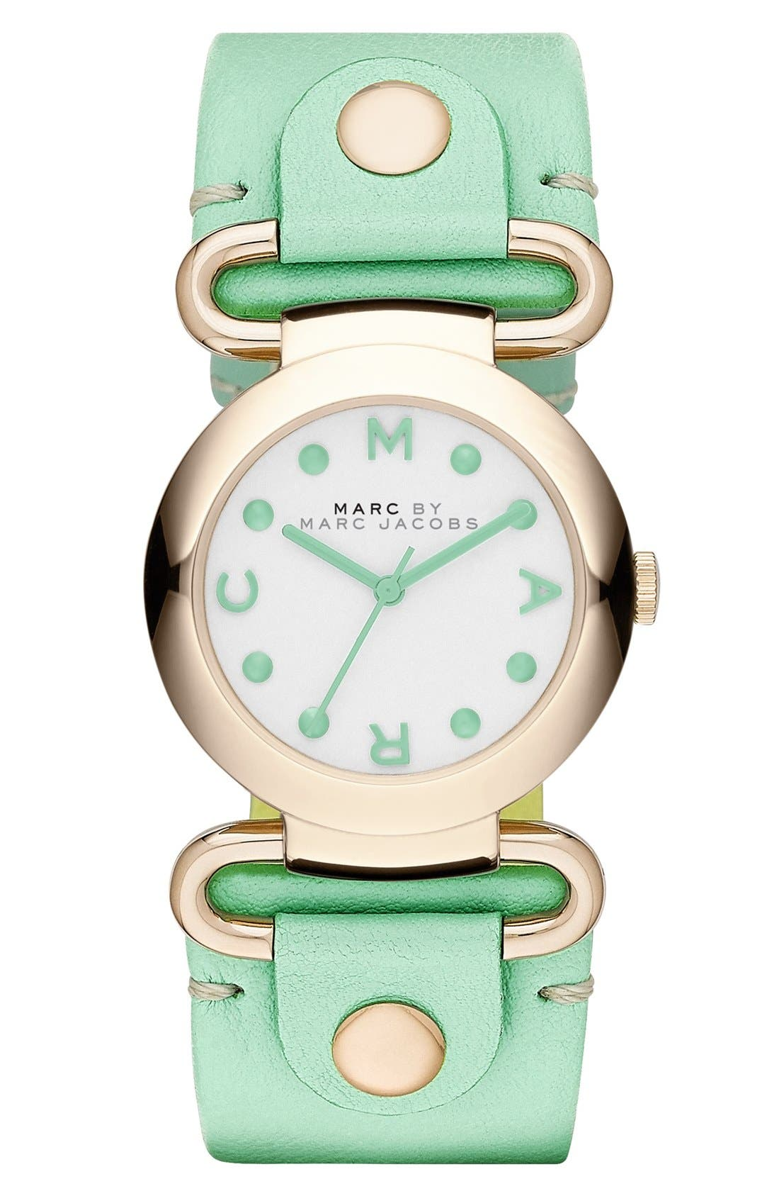 Main Image - MARC BY MARC JACOBS 'Small Molly' Leather Strap Watch, 30mm