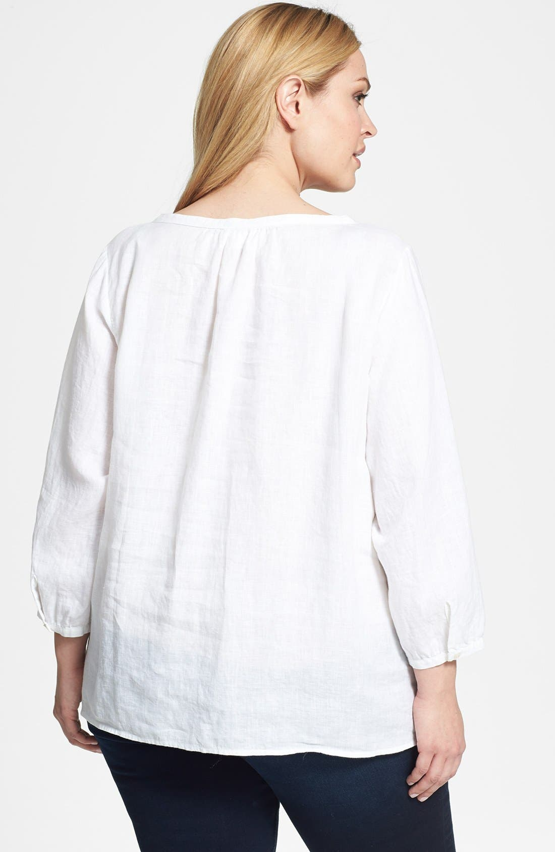Alternate Image 2  - Eileen Fisher Wide Neck Boxy Linen Top (Plus Size)