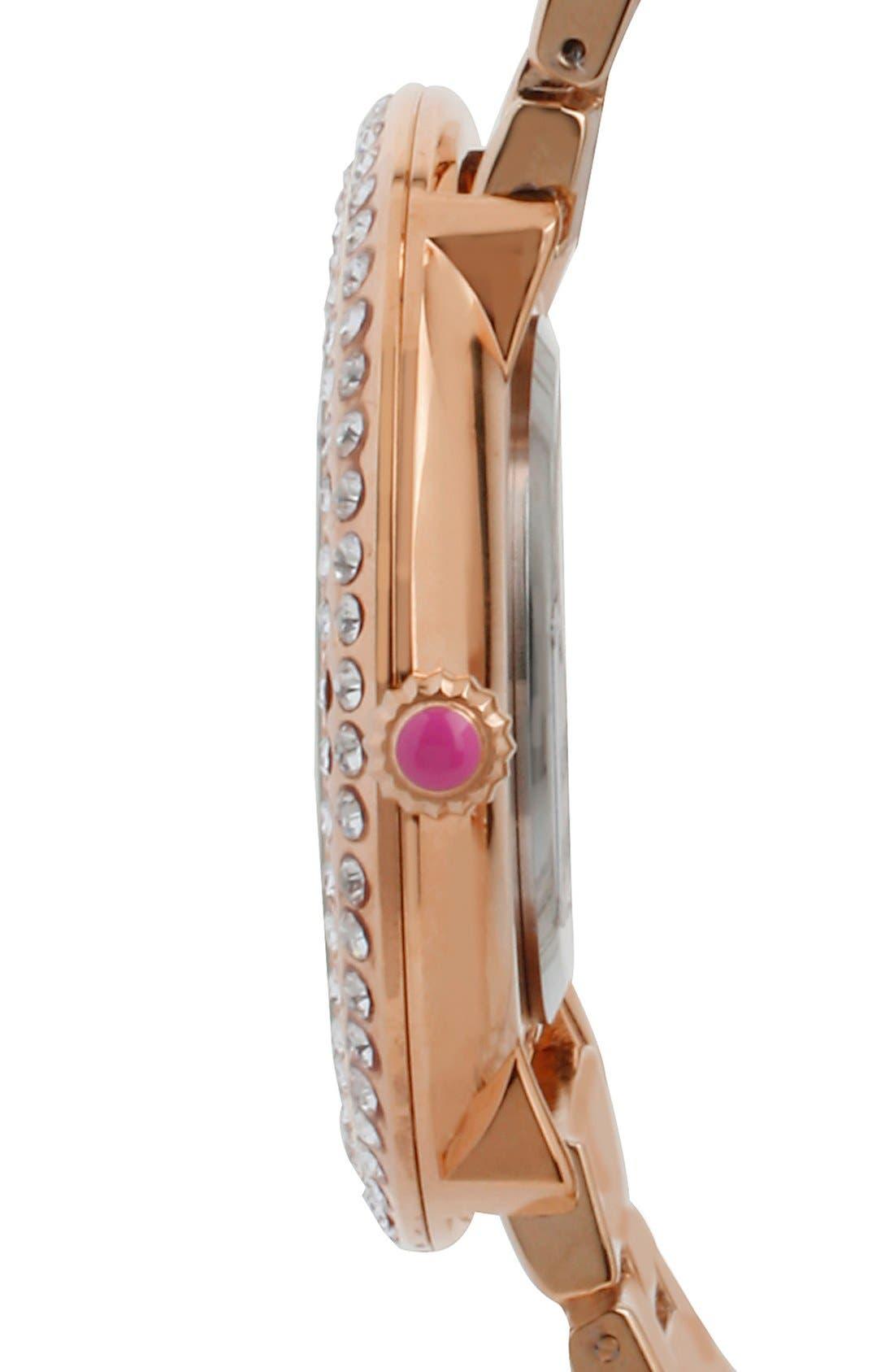 Alternate Image 3  - Betsey Johnson Crystal Bezel Swirl Dial Bracelet Watch, 48mm