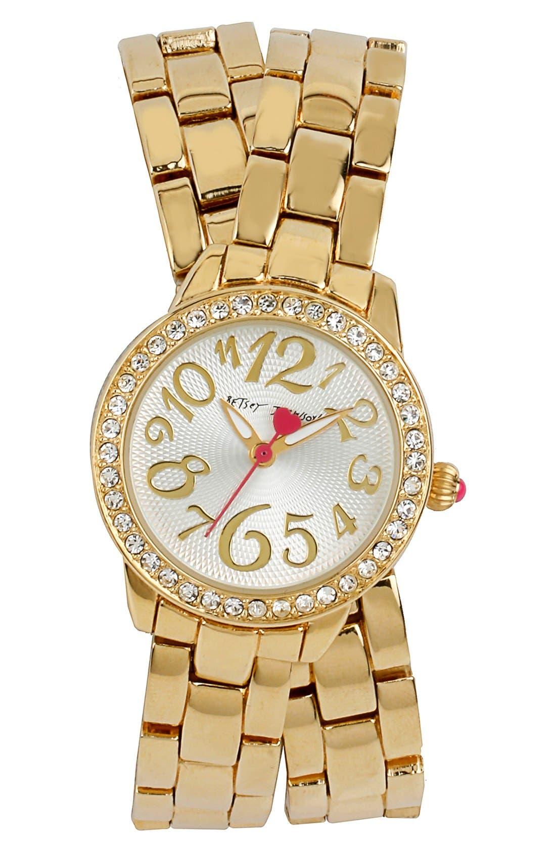 Main Image - Betsey Johnson Crystal Bezel Wrap Bracelet Watch, 28mm