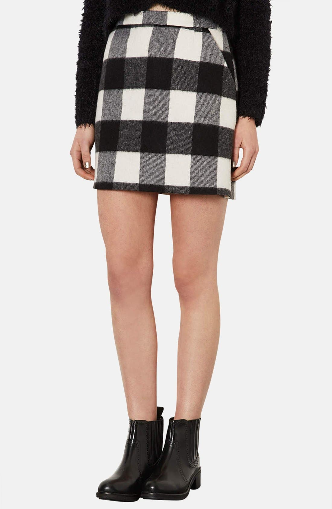 Alternate Image 1 Selected - Topshop Brushed Gingham A-Line Skirt