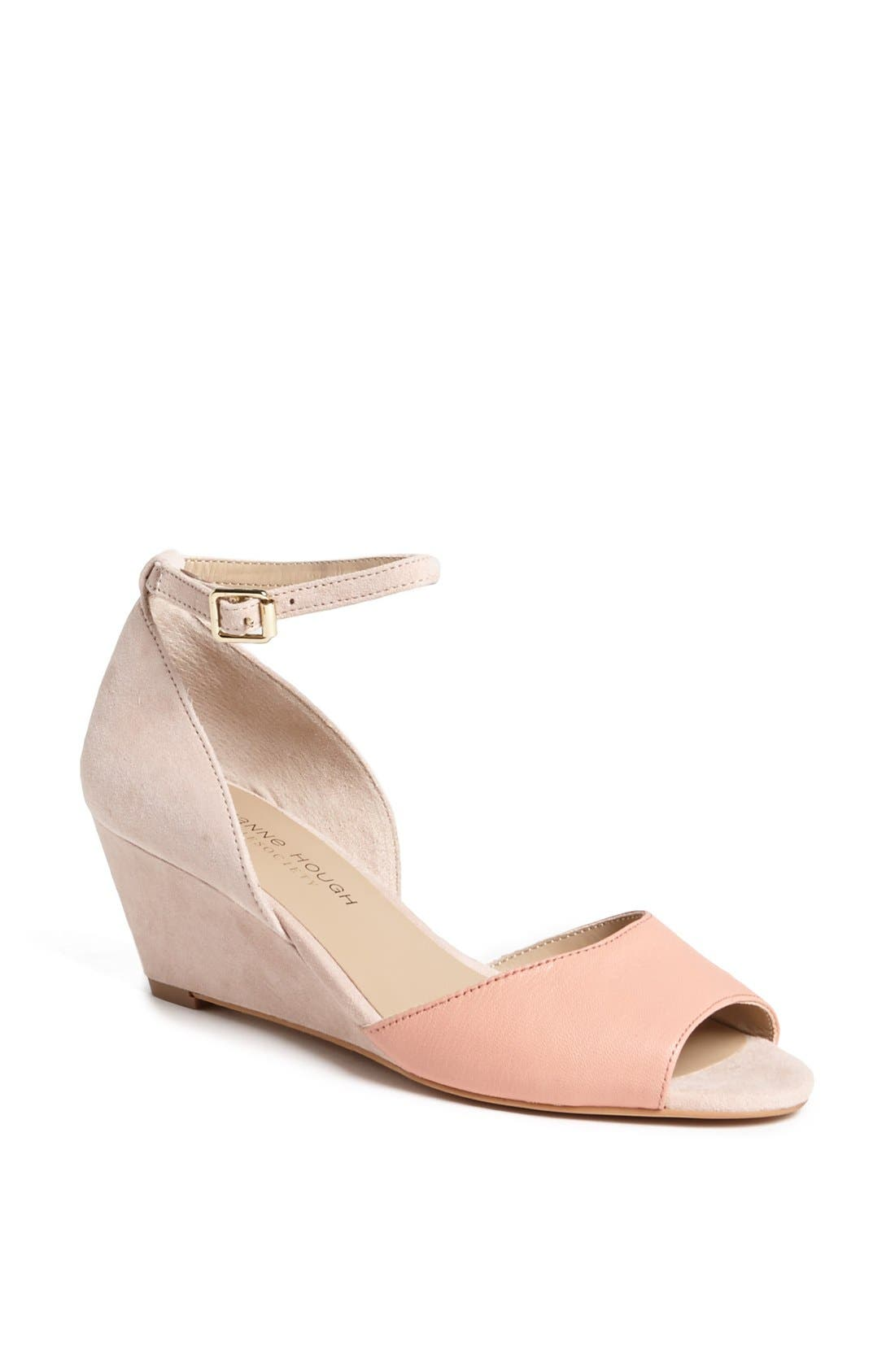 Alternate Image 1 Selected - Julianne Hough for Sole Society 'Lacey' Suede & Leather Wedge Sandal
