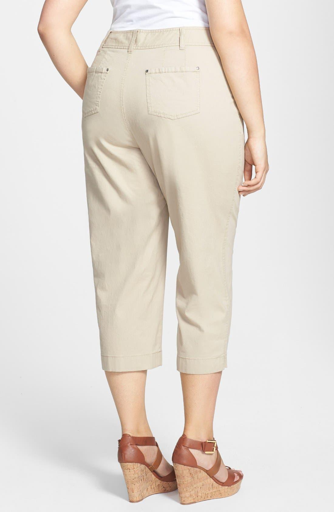 Alternate Image 2  - Sejour 'Megan' Stretch Cotton Crop Pants (Plus Size)