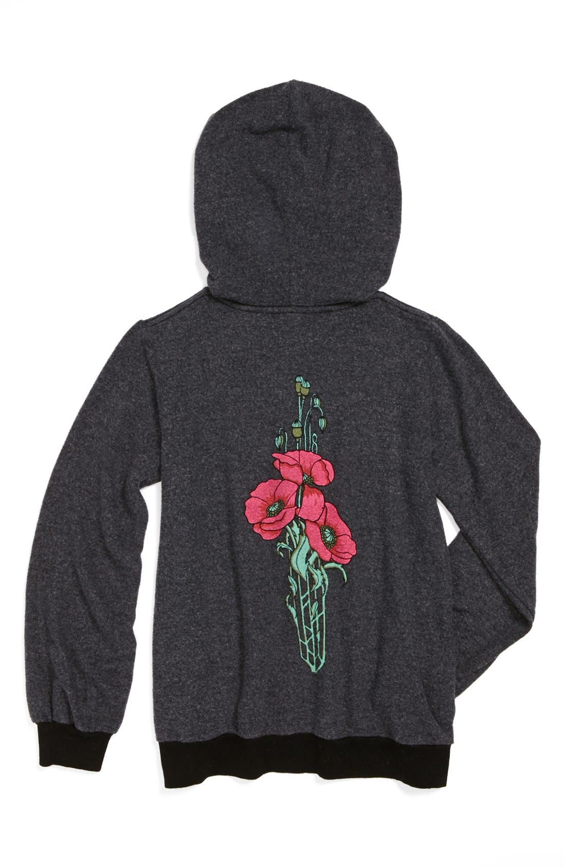 Main Image - Wildfox 'Deco Flower' Hoodie (Big Girls)