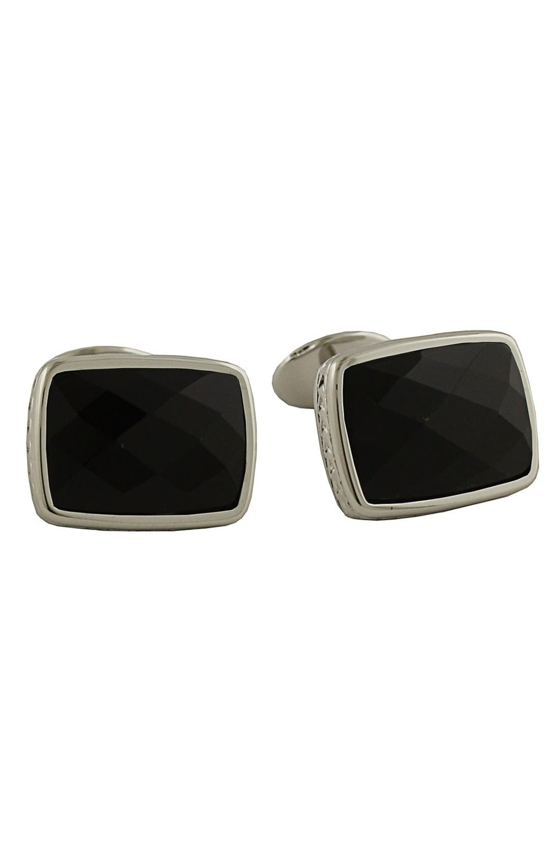 Sterling Silver Cuff Links,                         Main,                         color, Onyx