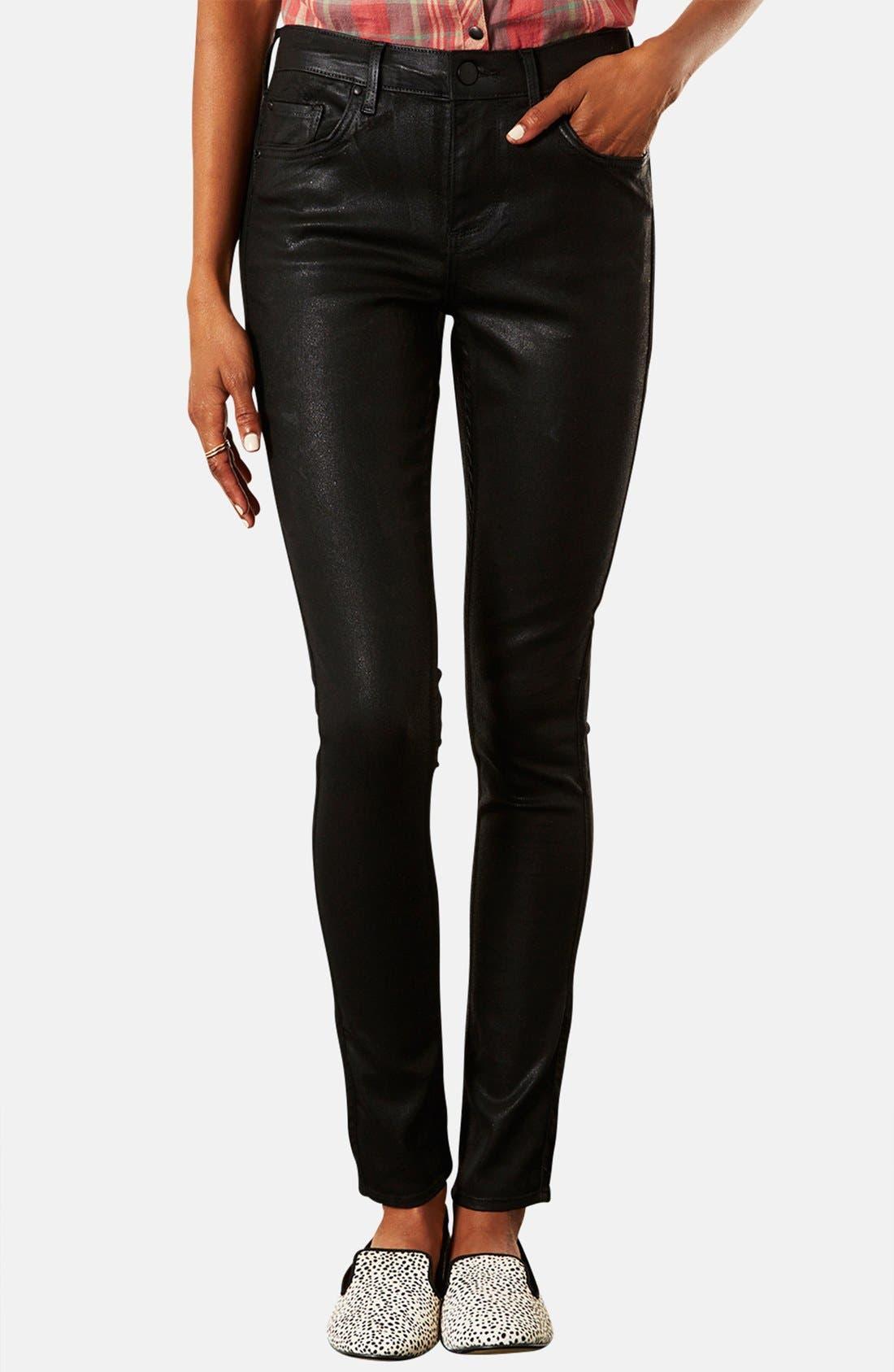 Main Image - Topshop Moto 'Leigh' Coated Skinny Jeans (Petite)