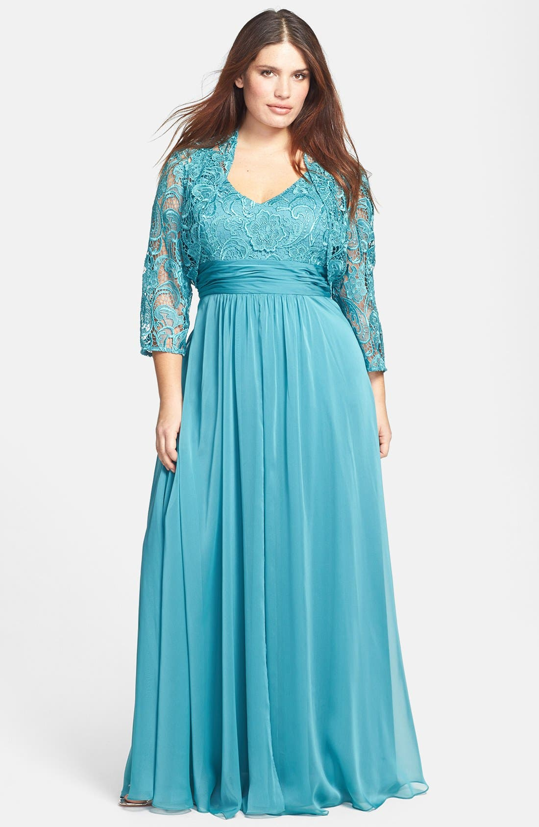 Main Image - Adrianna Papell Chiffon & Lace Gown & Jacket (Plus Size)