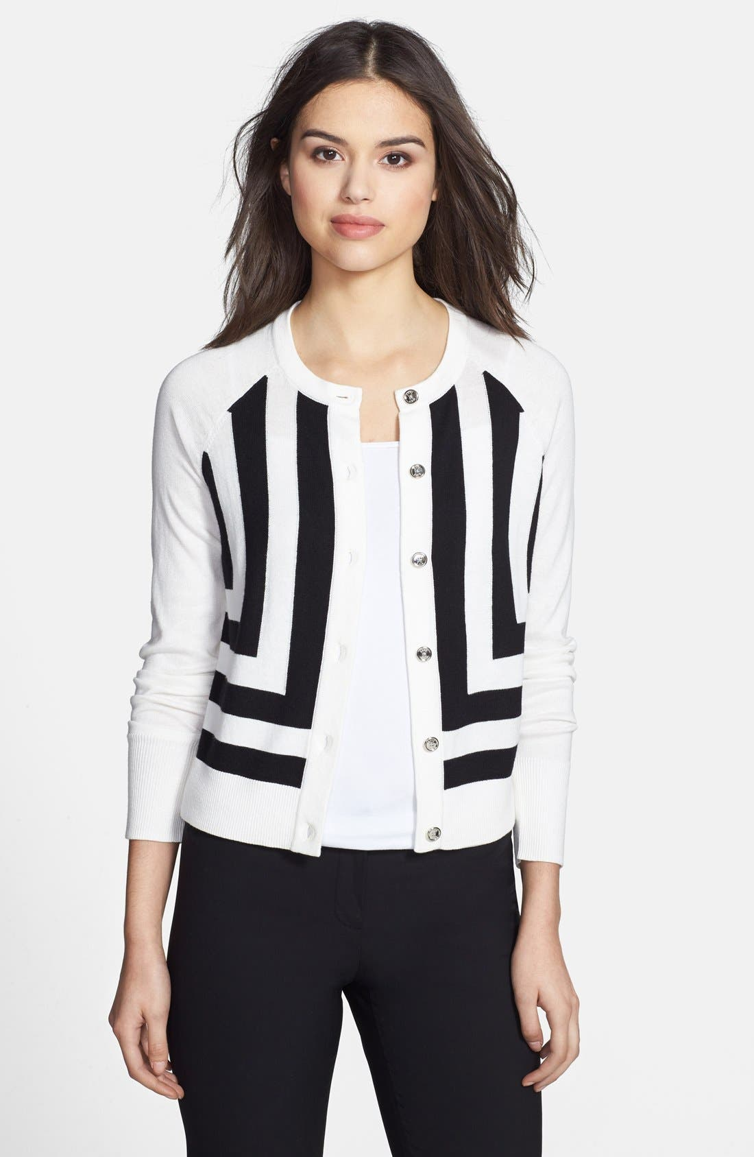 Alternate Image 1 Selected - Anne Klein 'Chevron' Pattern Cardigan (Regular & Petite)