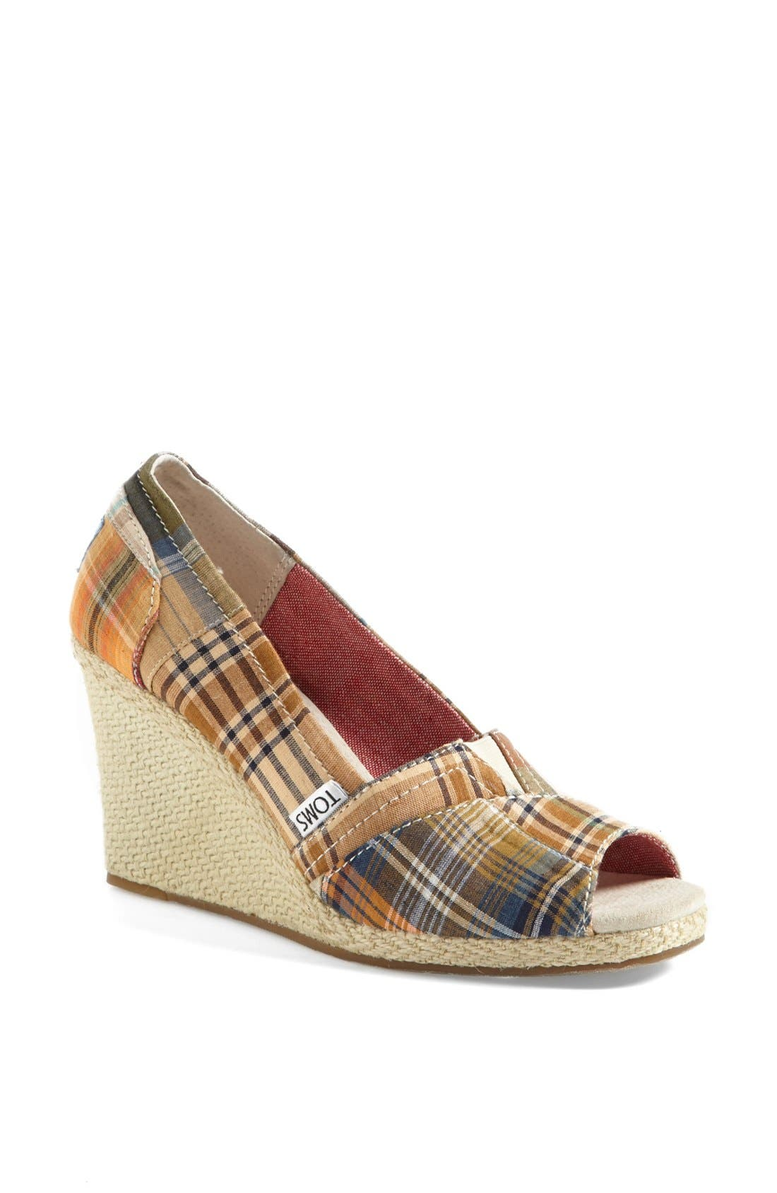 Main Image - TOMS 'Madras Plaid' Wedge (Women)