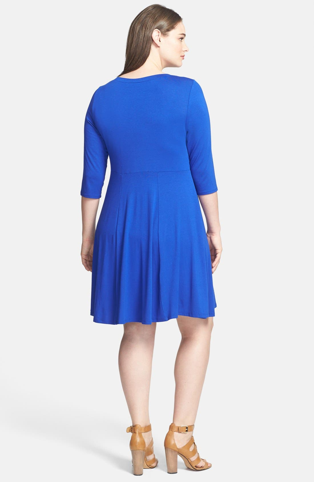 Alternate Image 2  - Evans Fit & Flare Dress (Plus Size)